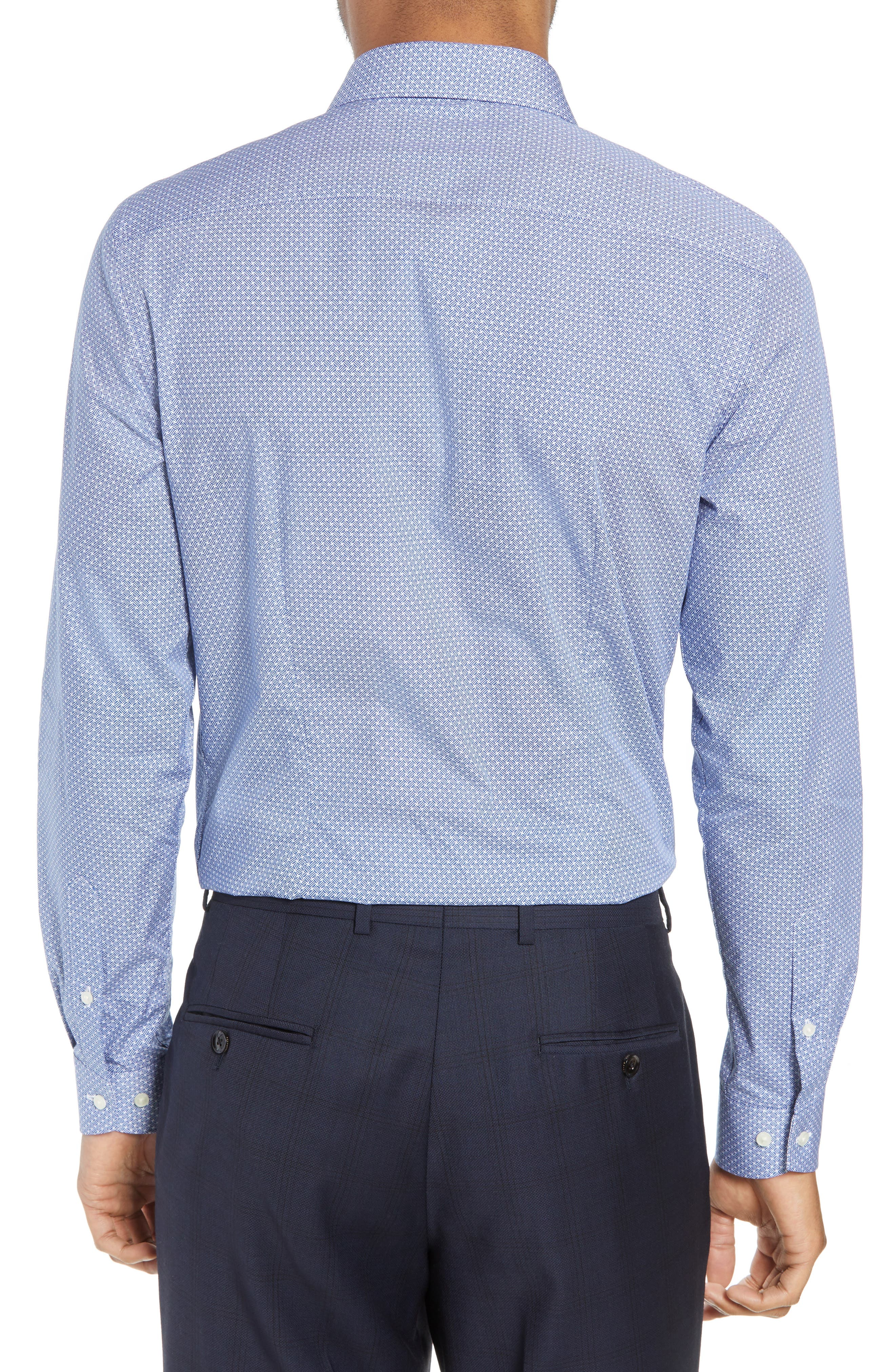 Rugber Slim Fit Print Dress Shirt,                             Alternate thumbnail 3, color,                             BLUE