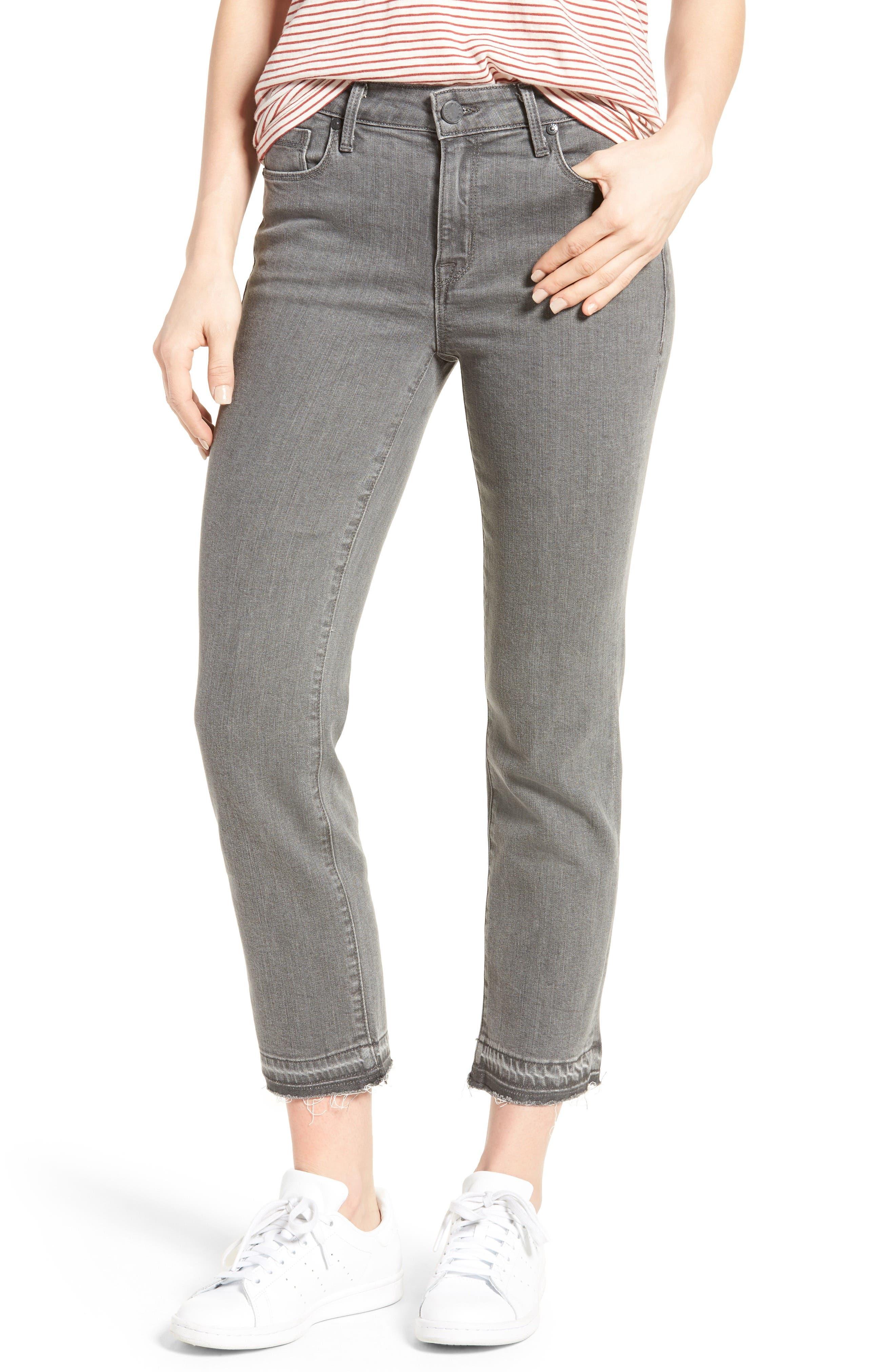 Frayed Release Hem Crop Straight Leg Jeans,                         Main,                         color, 032