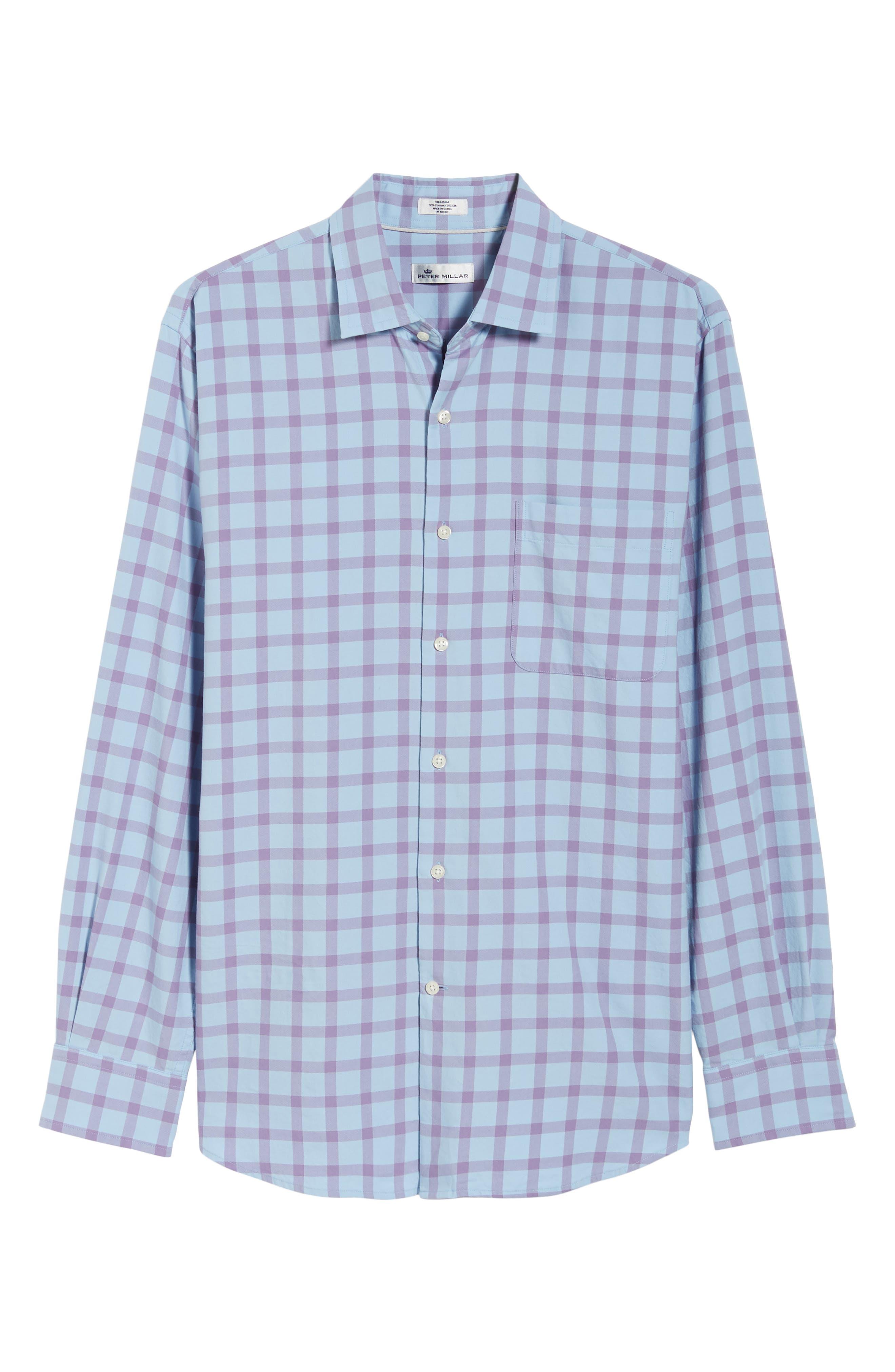 Castin Regular Fit Tattersall Check Sport Shirt,                             Alternate thumbnail 5, color,                             BLUE