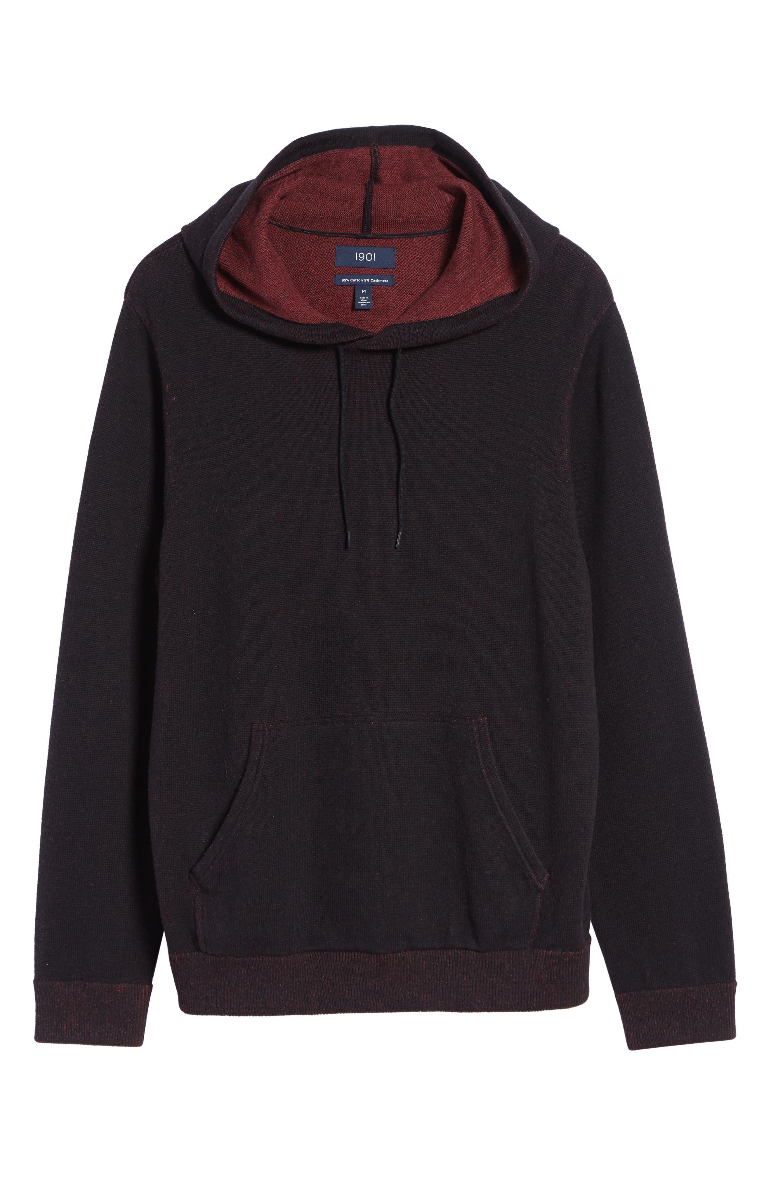 Regular Fit Cotton & Cashmere Hoodie,                             Alternate thumbnail 6, color,                             BLACK CAVIAR