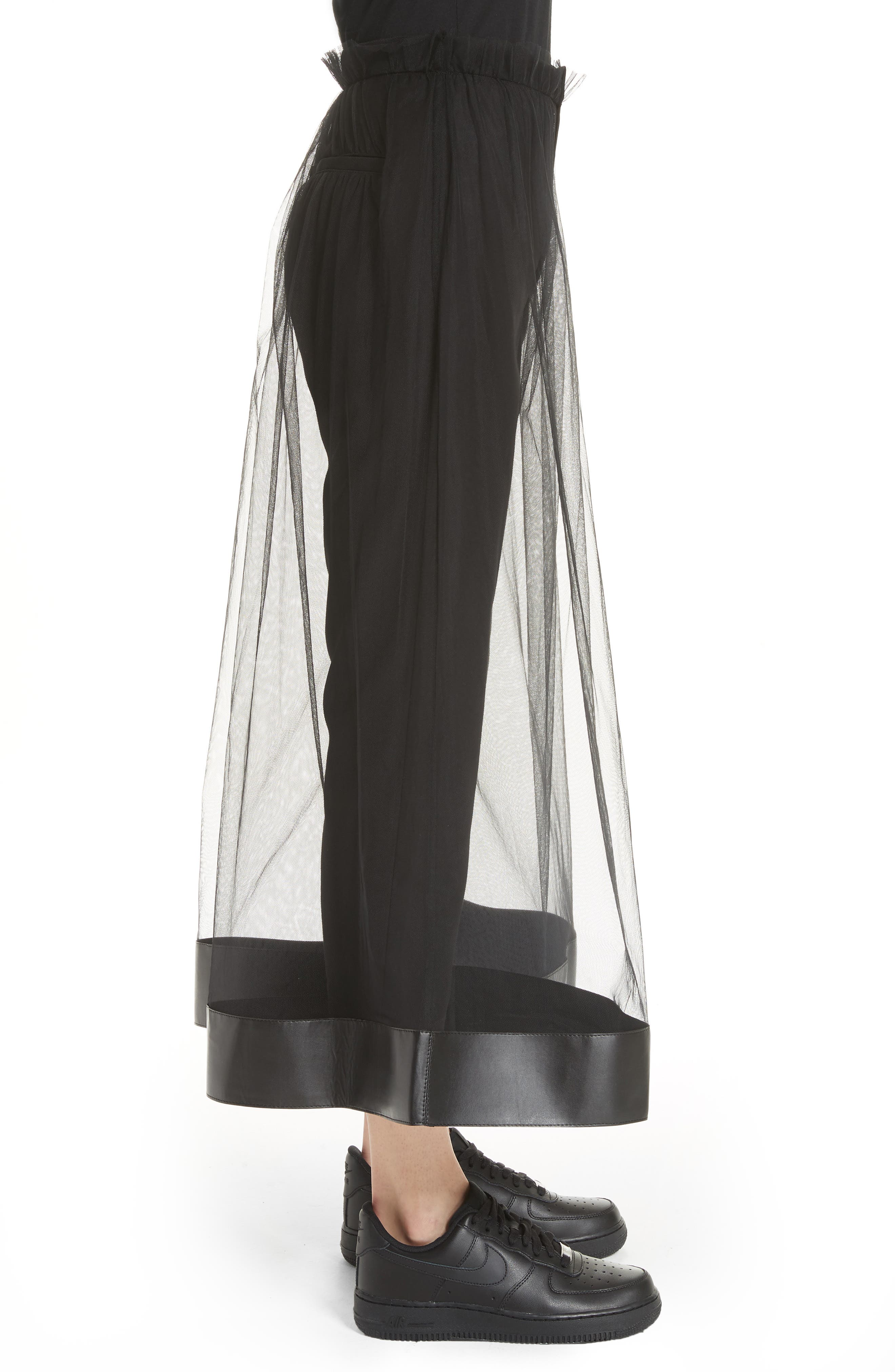 Tulle Overlay Crop Pants,                             Alternate thumbnail 3, color,                             001