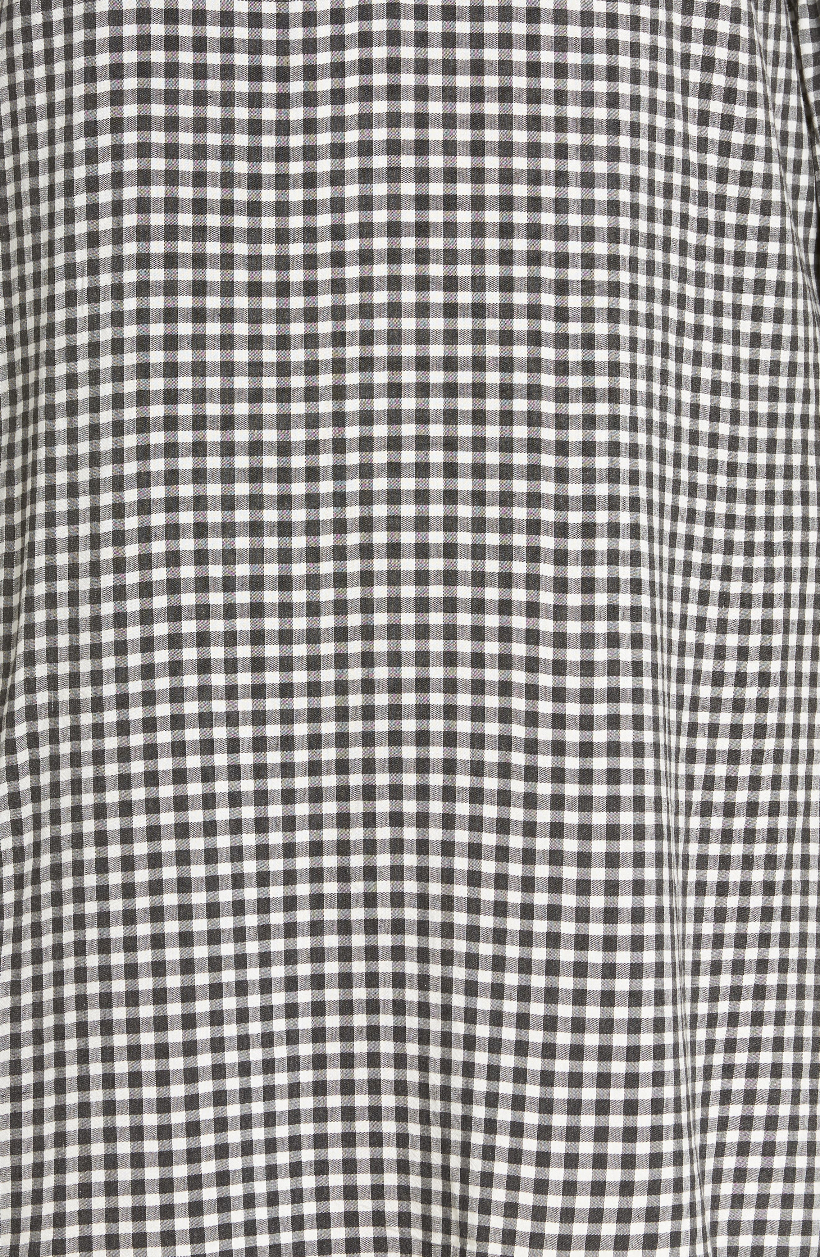 Embroidered Puff Sleeve Gingham Shift Dress,                             Alternate thumbnail 6, color,                             001
