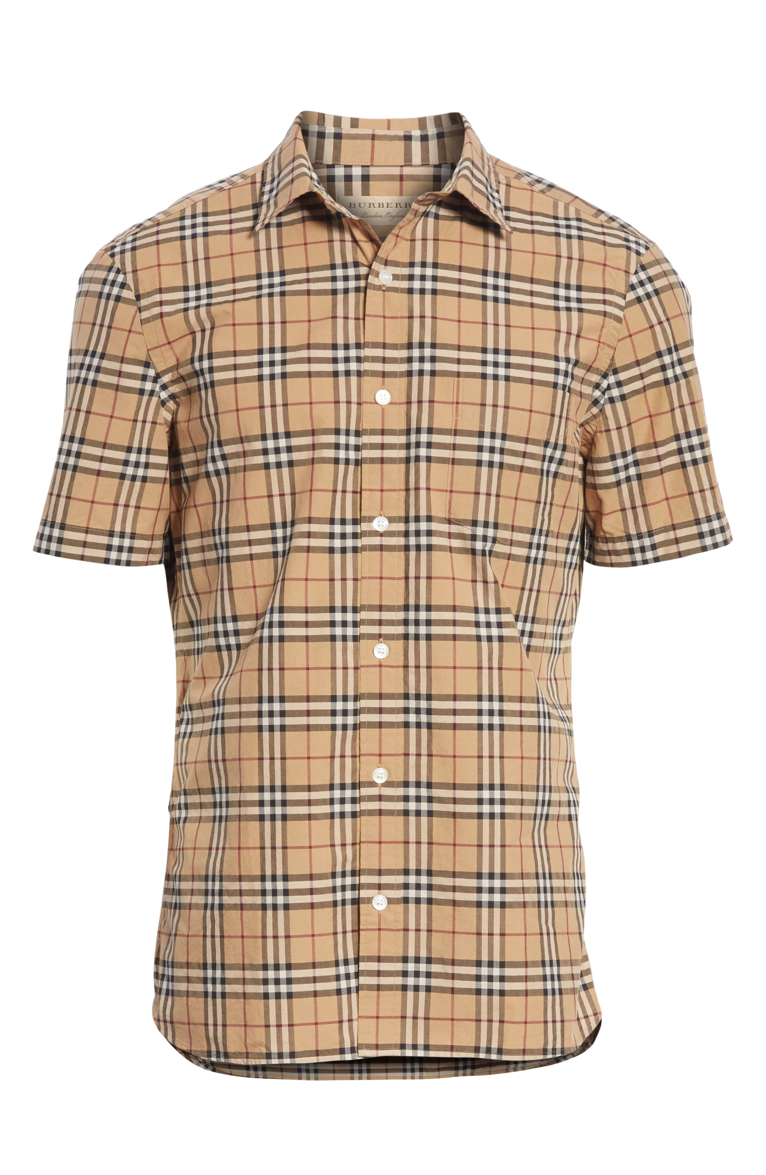 Alexander Check Sport Shirt,                             Alternate thumbnail 6, color,                             CAMEL