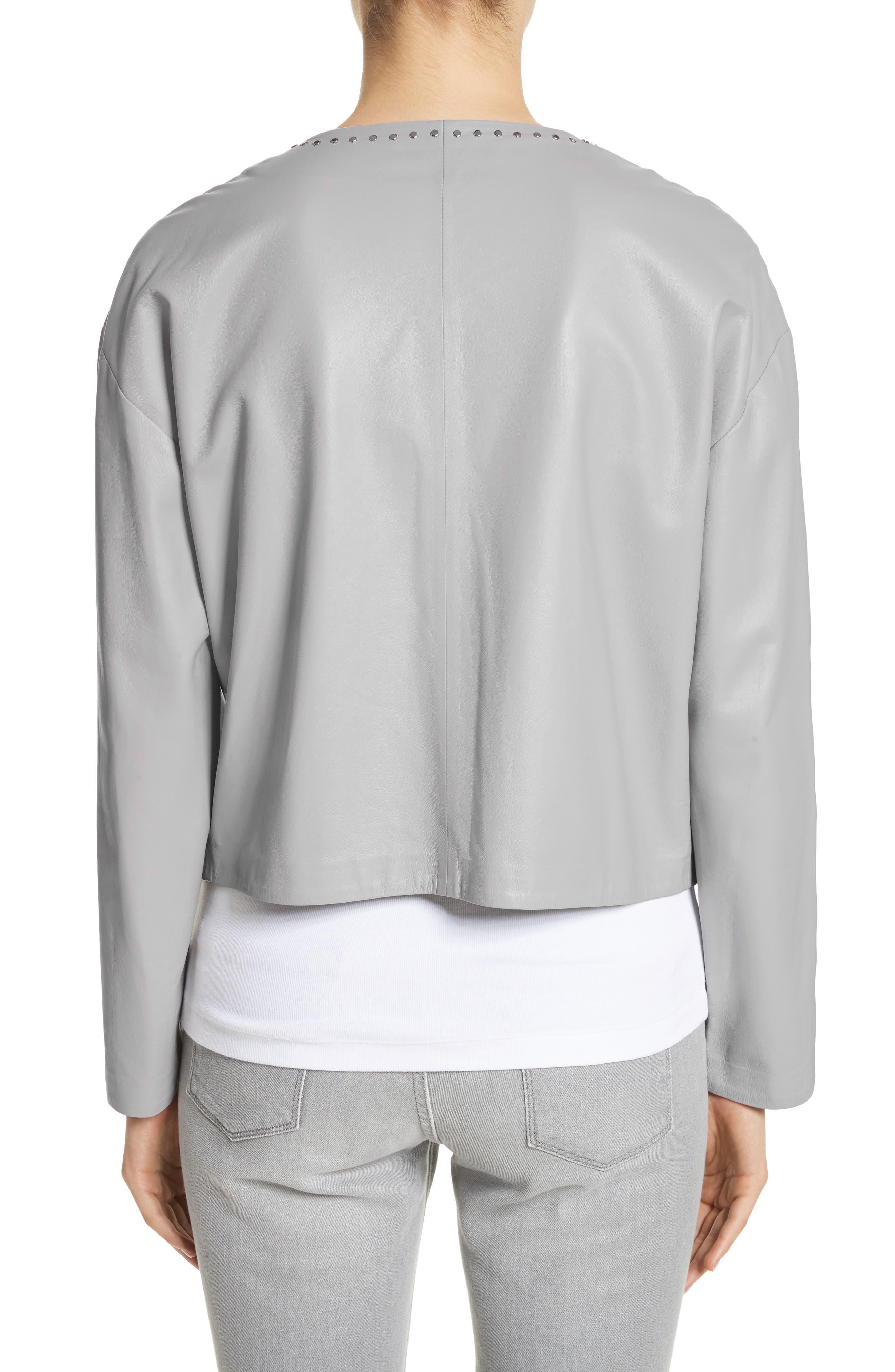 Studded Nappa Leather Jacket,                             Alternate thumbnail 2, color,                             020