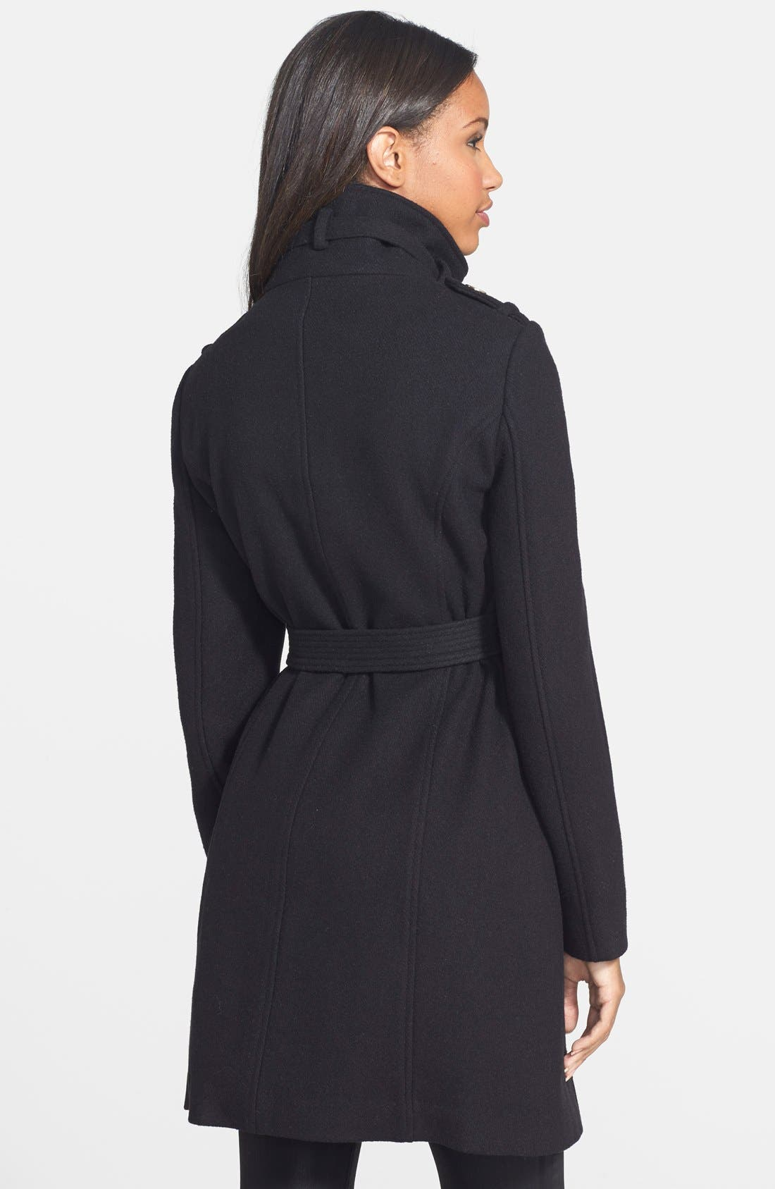 Stand Collar Wool Blend Trench Coat,                             Alternate thumbnail 4, color,                             001
