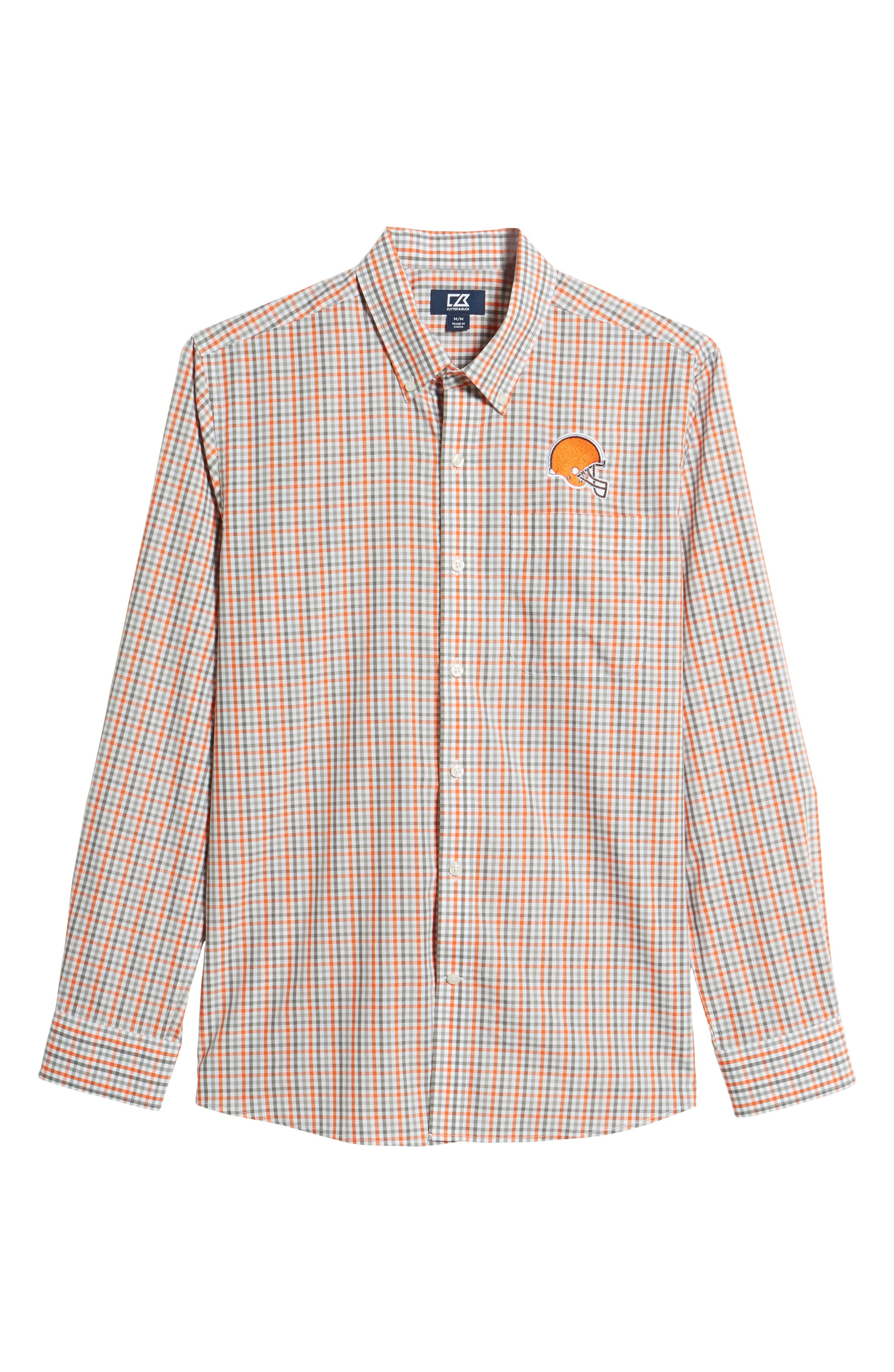 Cleveland Browns - Gilman Regular Fit Plaid Sport Shirt,                             Alternate thumbnail 6, color,                             COLLEGE ORANGE