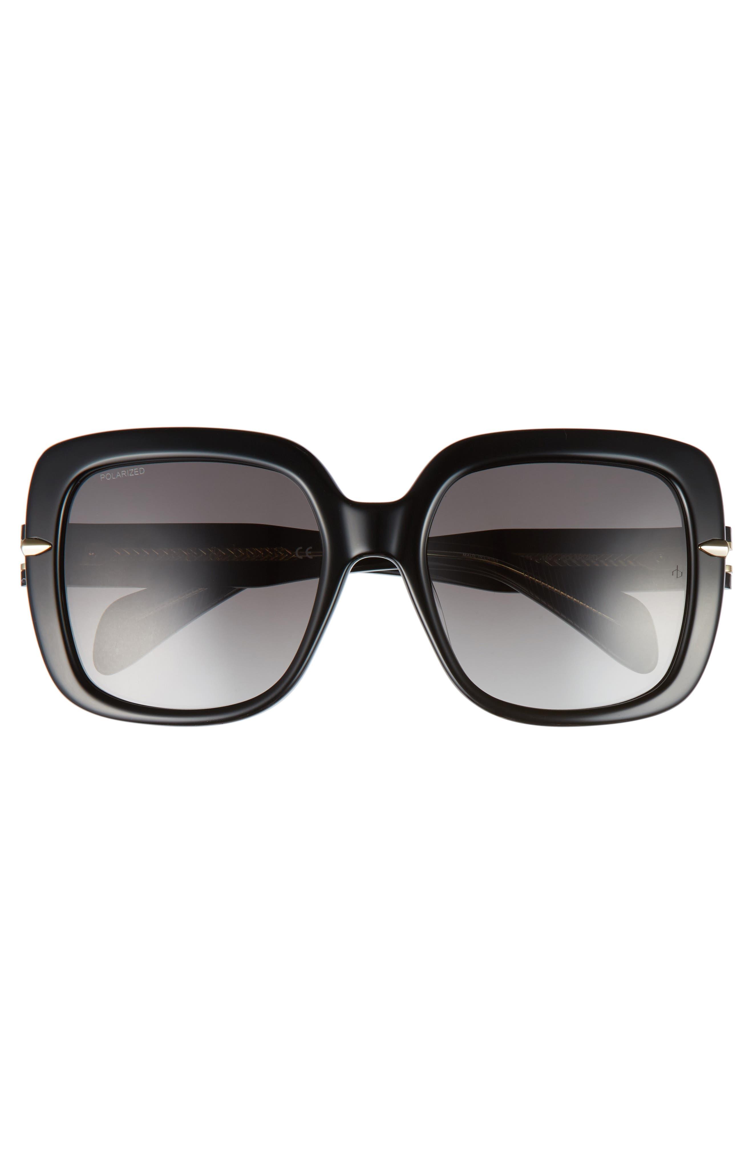 56mm Square Polarized Sunglasses,                             Alternate thumbnail 3, color,                             001