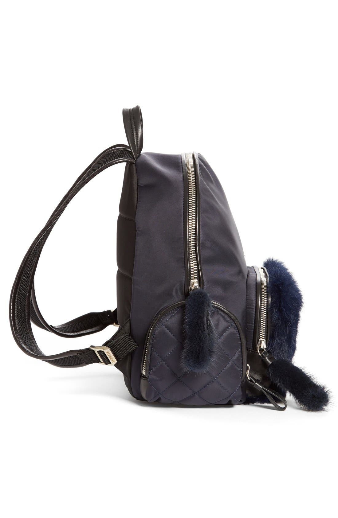 'Florine' Genuine Rabbit Fur Trim Backpack,                             Alternate thumbnail 5, color,                             419