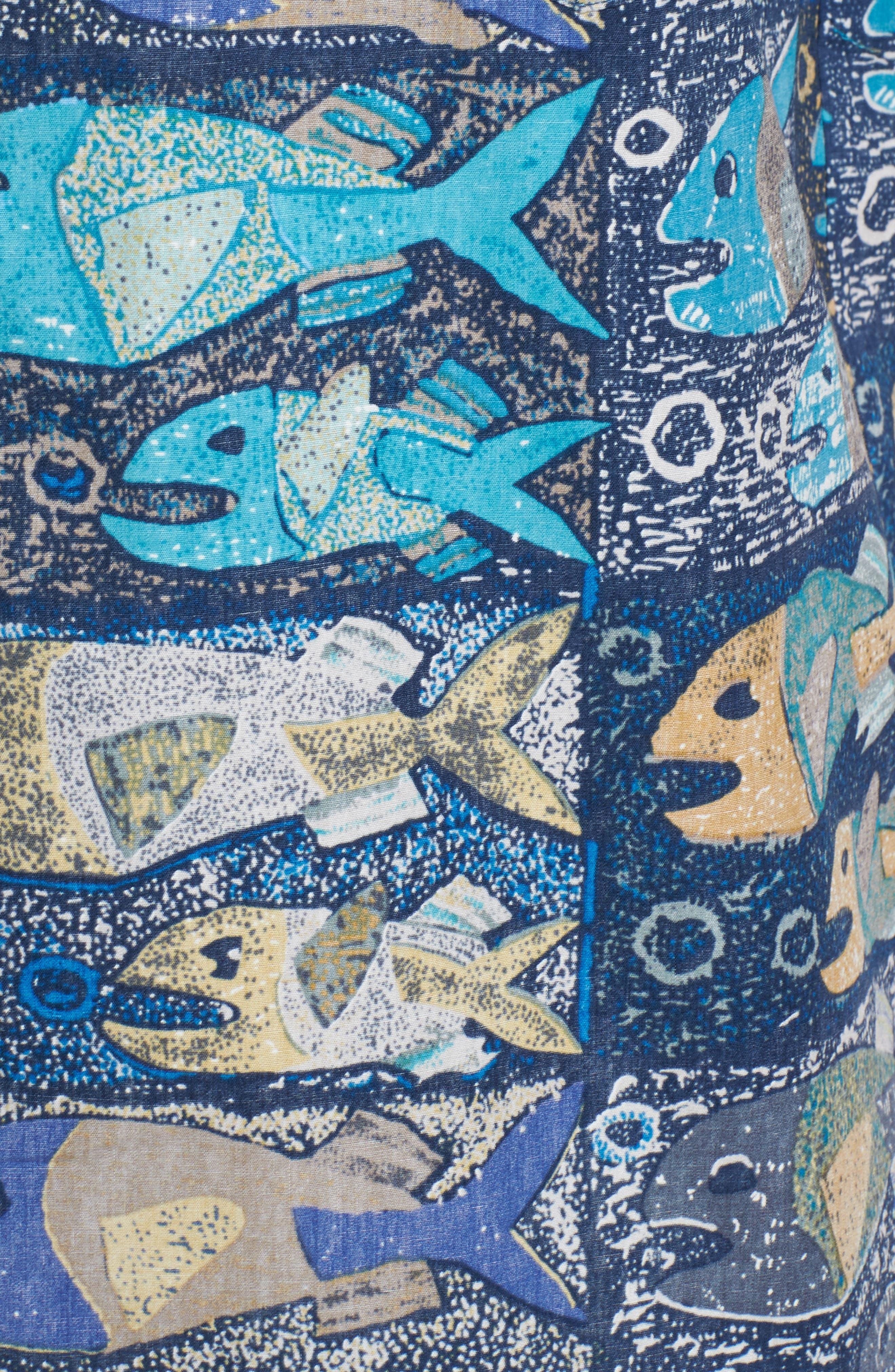 Stone Fish Print Sport Shirt,                             Alternate thumbnail 5, color,                             415