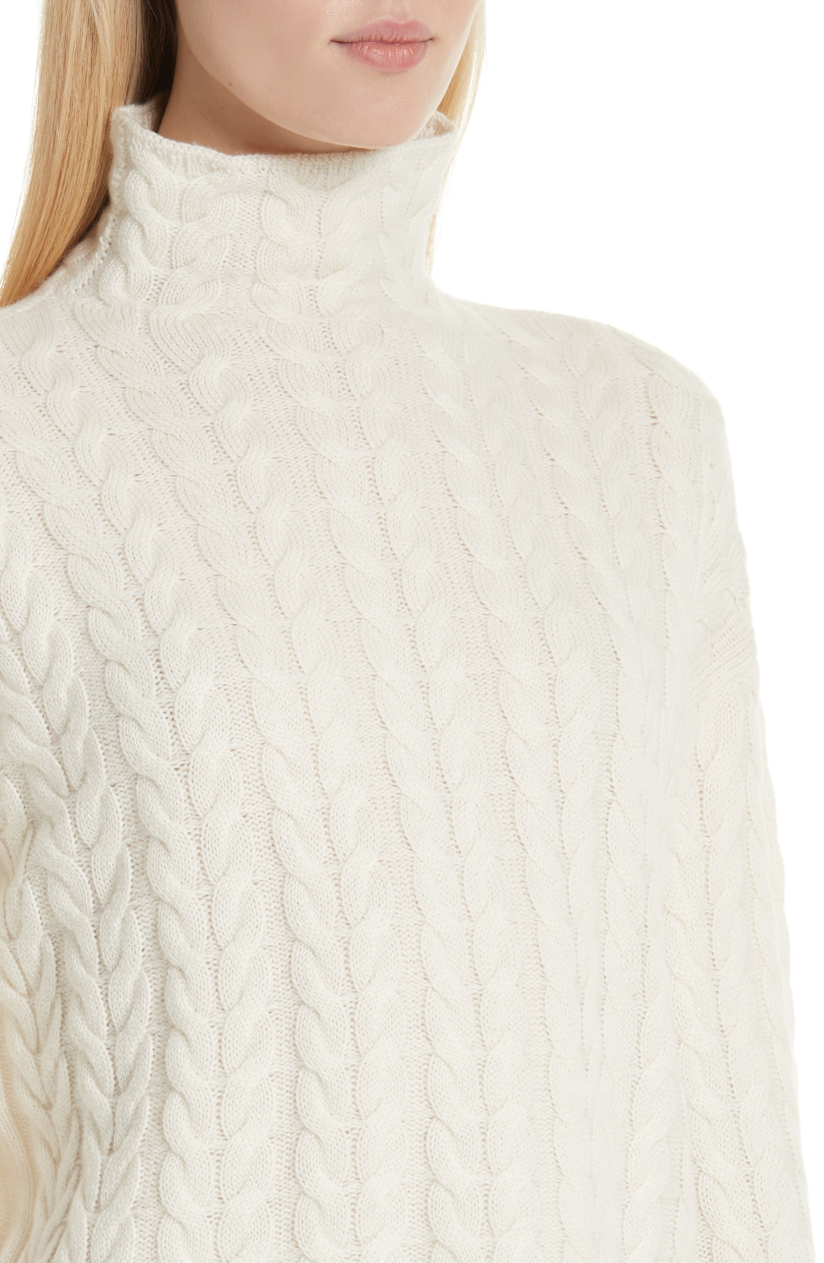 Cable Cashmere Sweater,                             Alternate thumbnail 4, color,                             IVORY/ IVORY