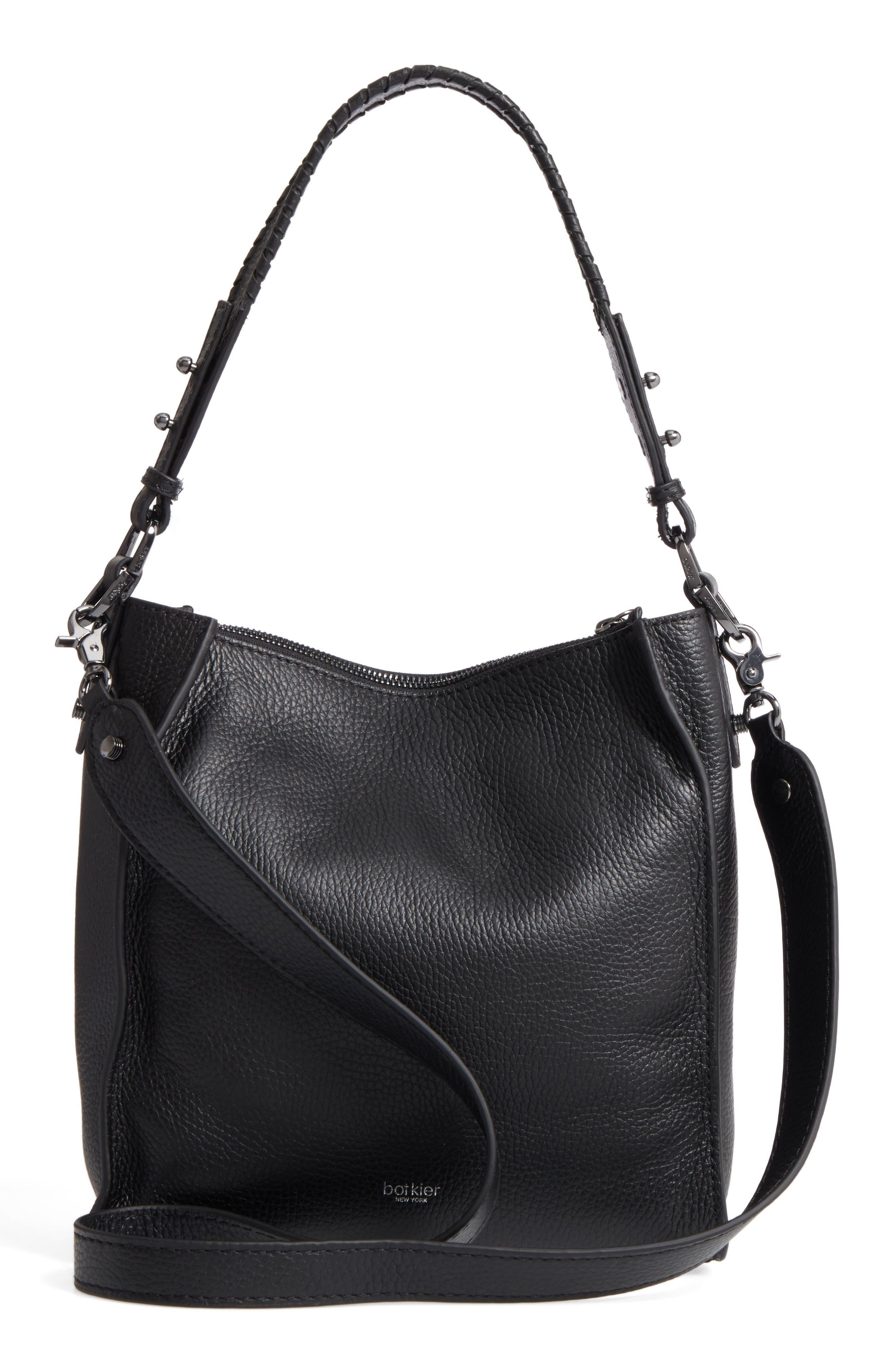 Small Paloma Leather Hobo,                             Alternate thumbnail 3, color,                             001