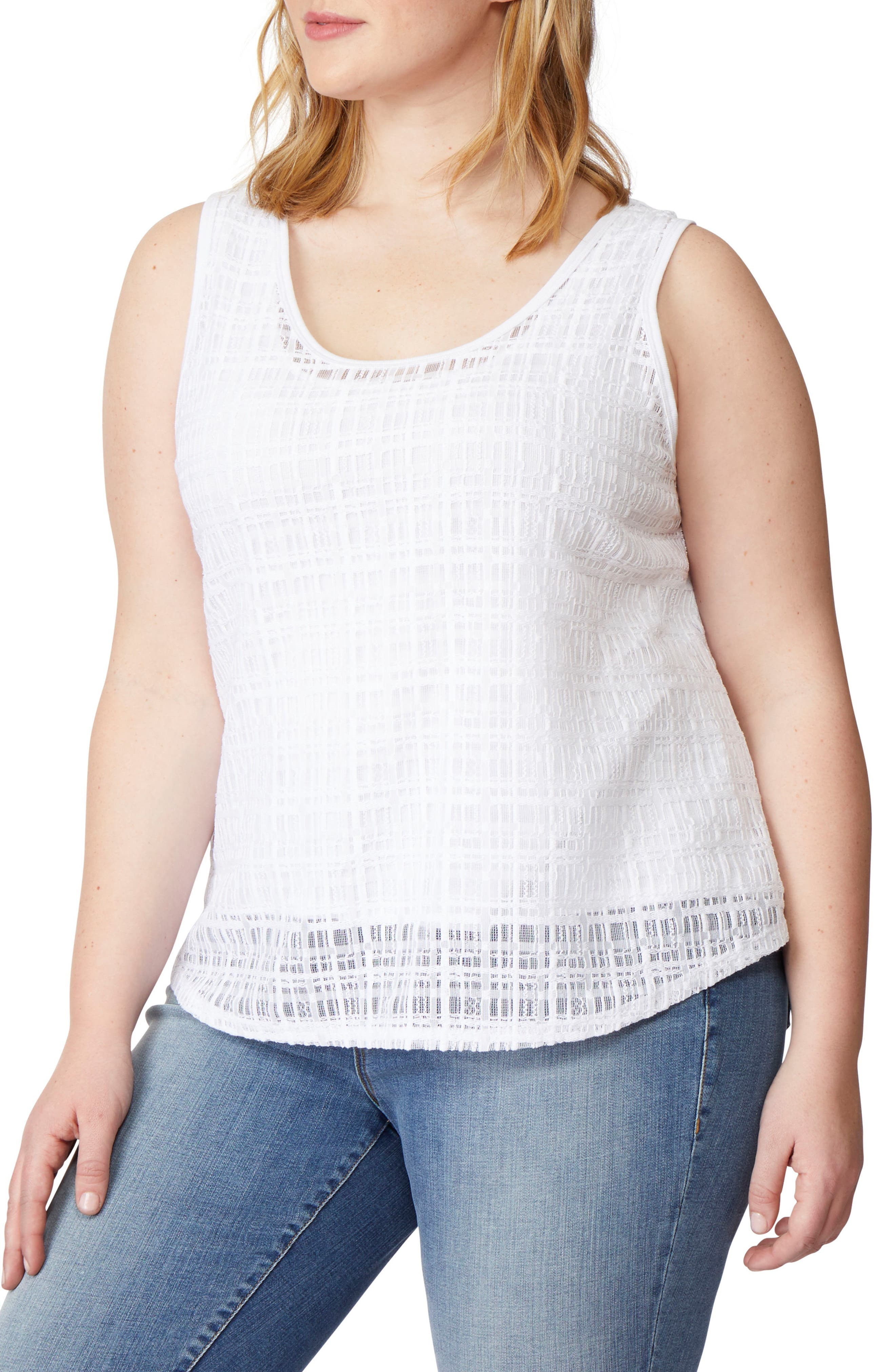 Geo Lace Tank,                         Main,                         color, WHITE