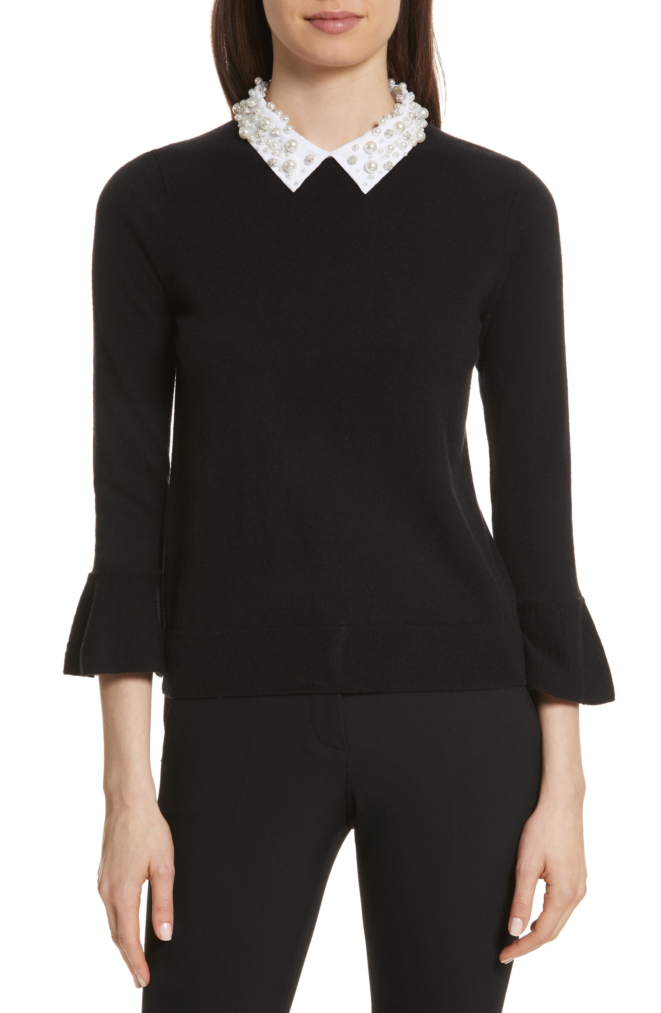 embellished collar sweater,                             Main thumbnail 1, color,                             001