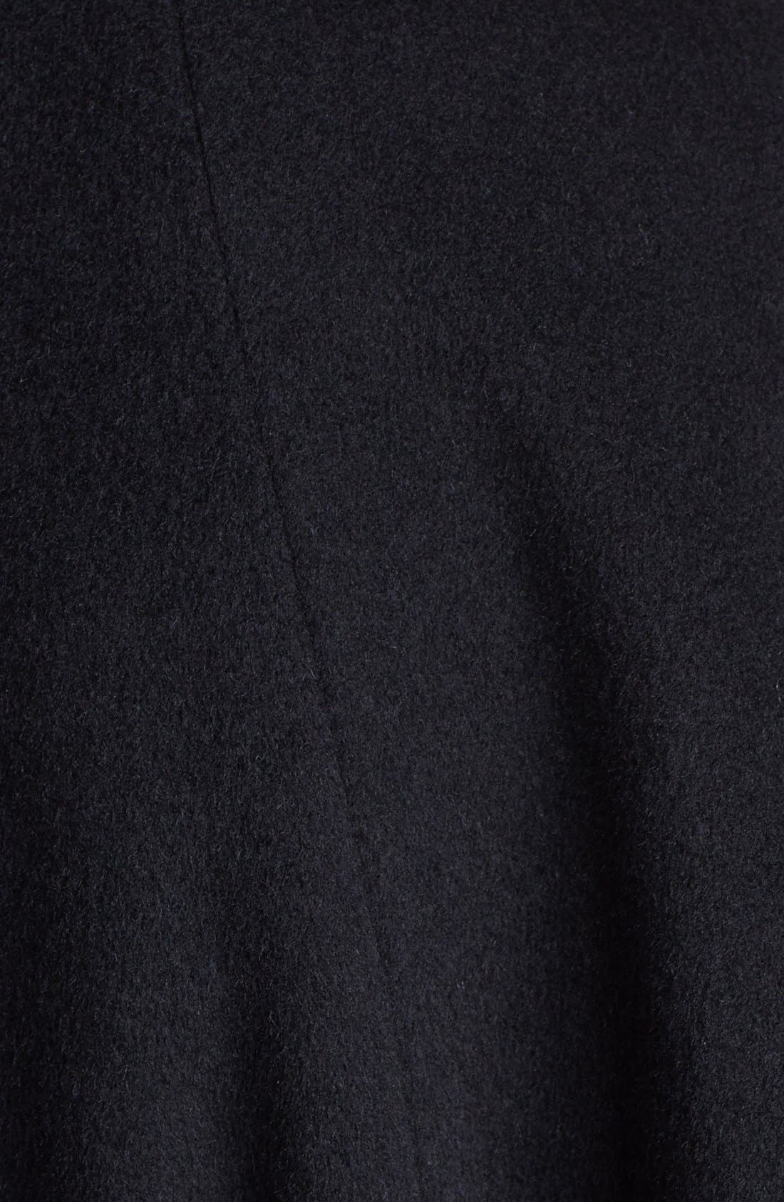 Faux Fur Trim Belted Cape,                             Alternate thumbnail 2, color,                             001