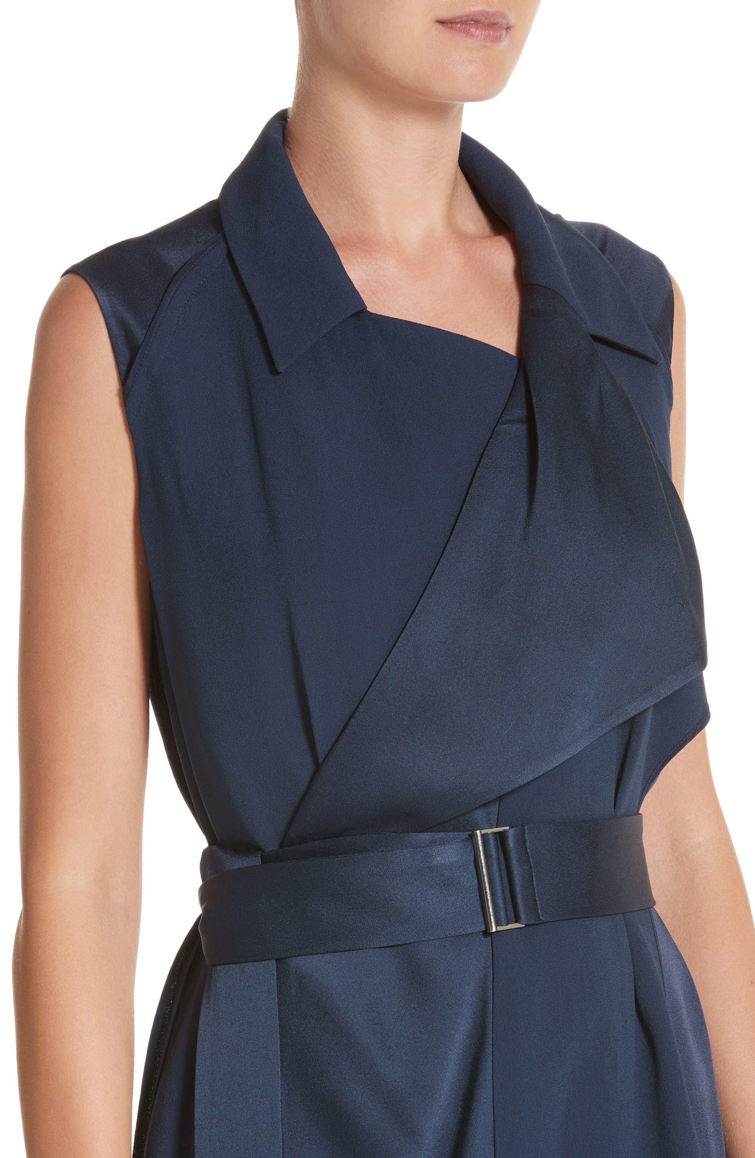 Crepe Back Satin Belted Wrap Dress,                             Alternate thumbnail 4, color,