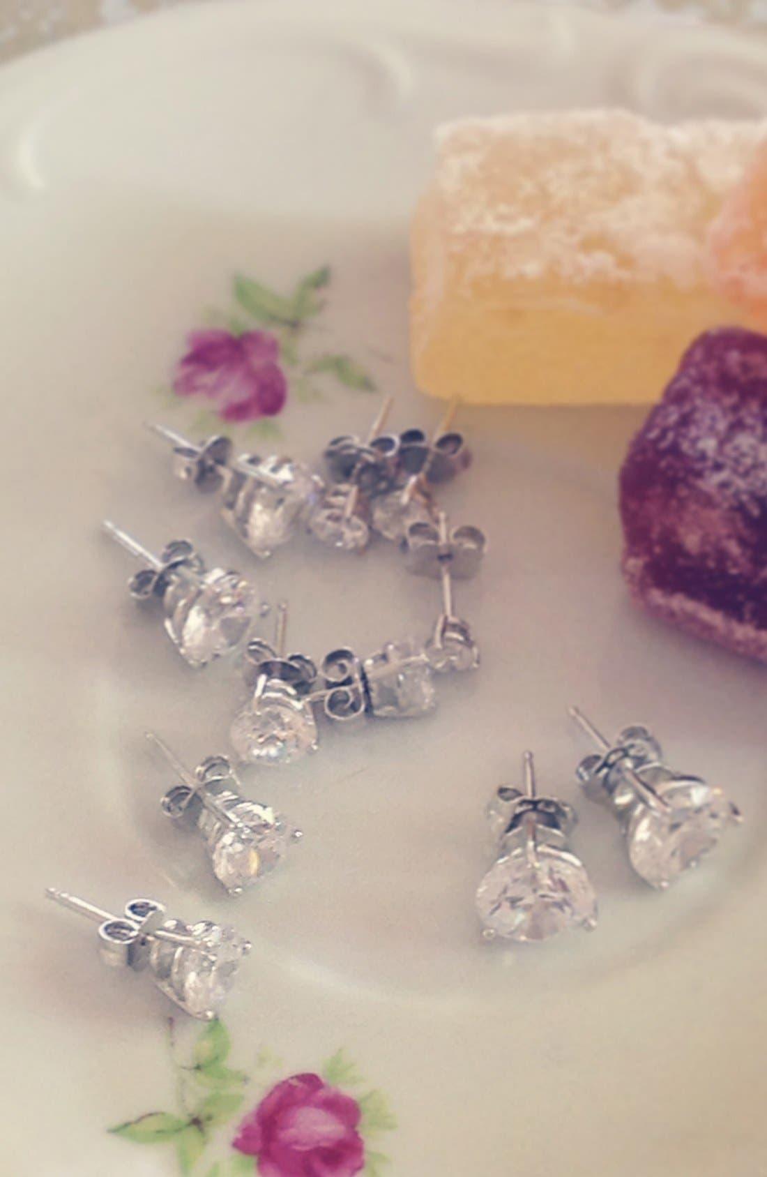 3ct tw Cubic Zirconia Earrings,                             Alternate thumbnail 7, color,                             PLATINUM