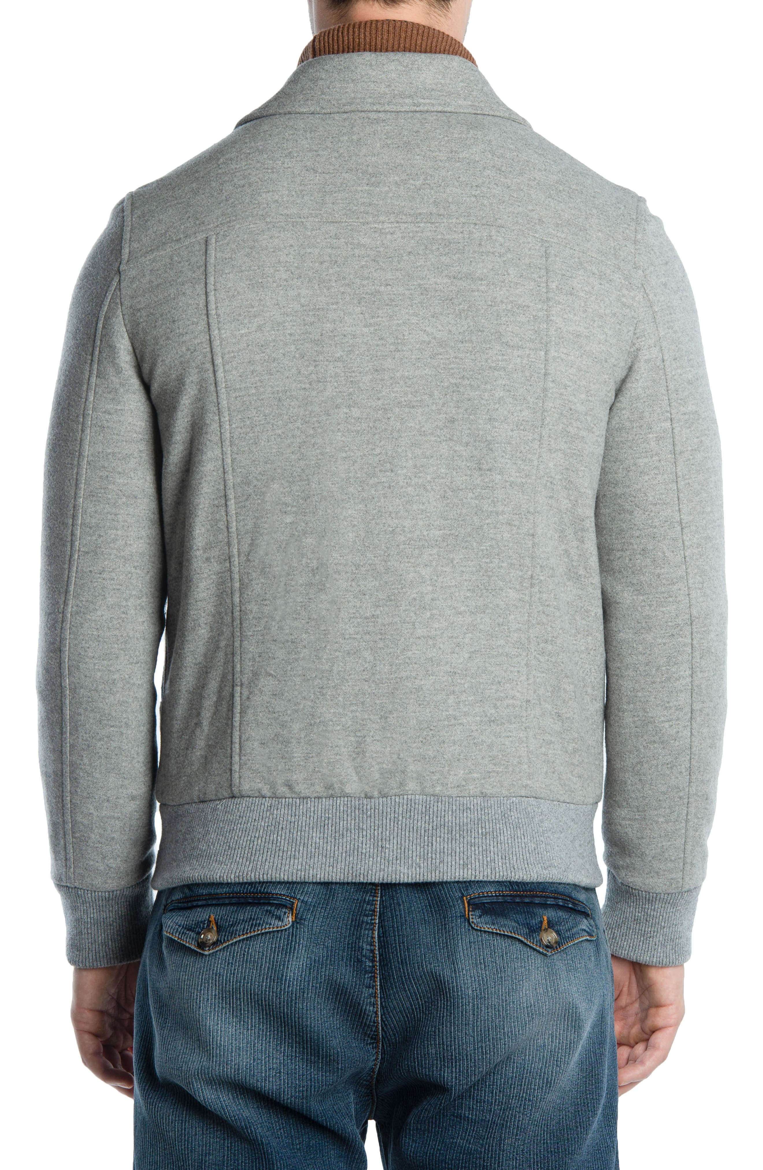 Wool & Cashmere Bomber Jacket,                             Alternate thumbnail 2, color,                             LIGHT GREY