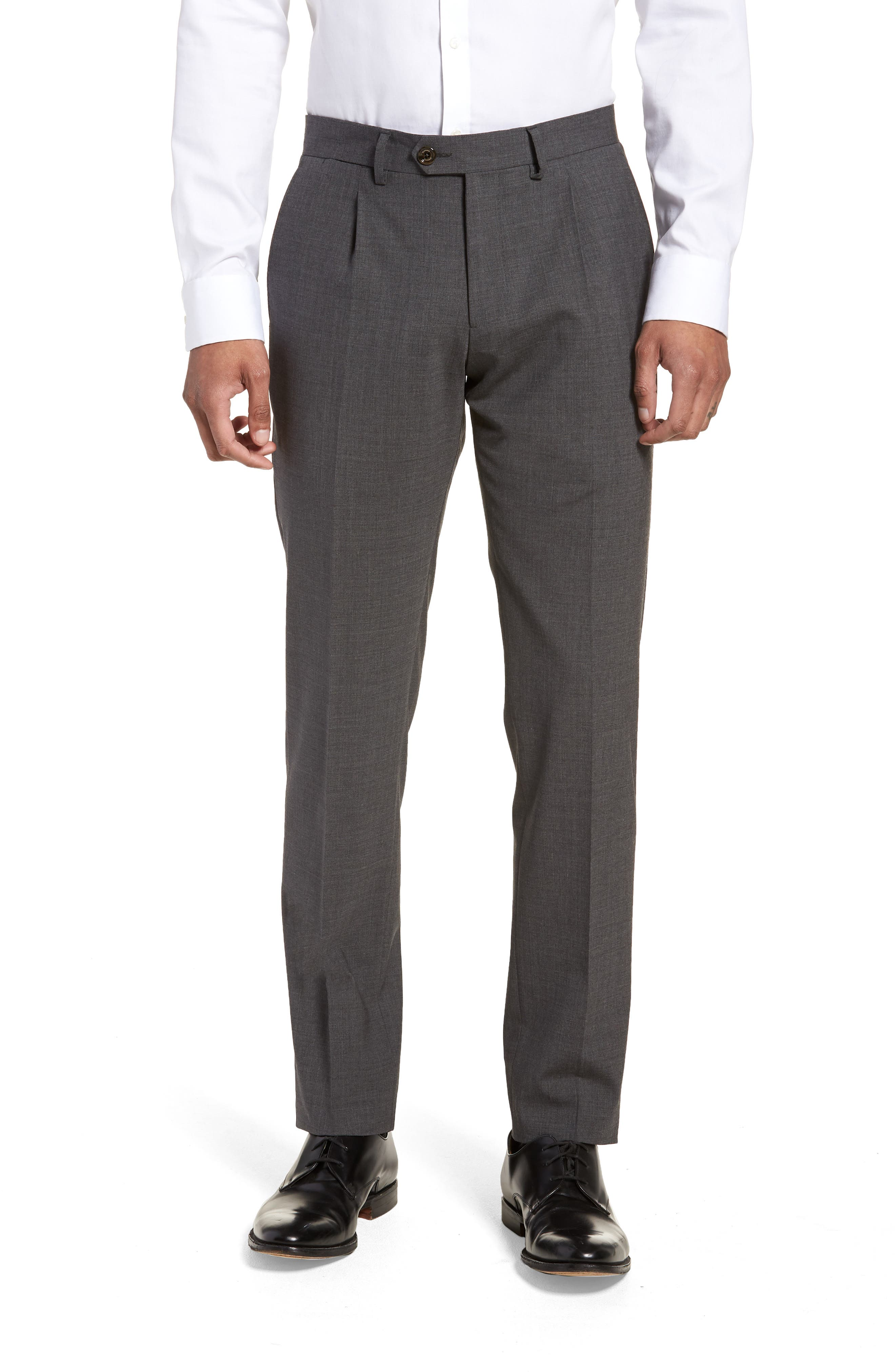 Pleat Front Stretch Solid Wool Trousers,                             Main thumbnail 1, color,                             024