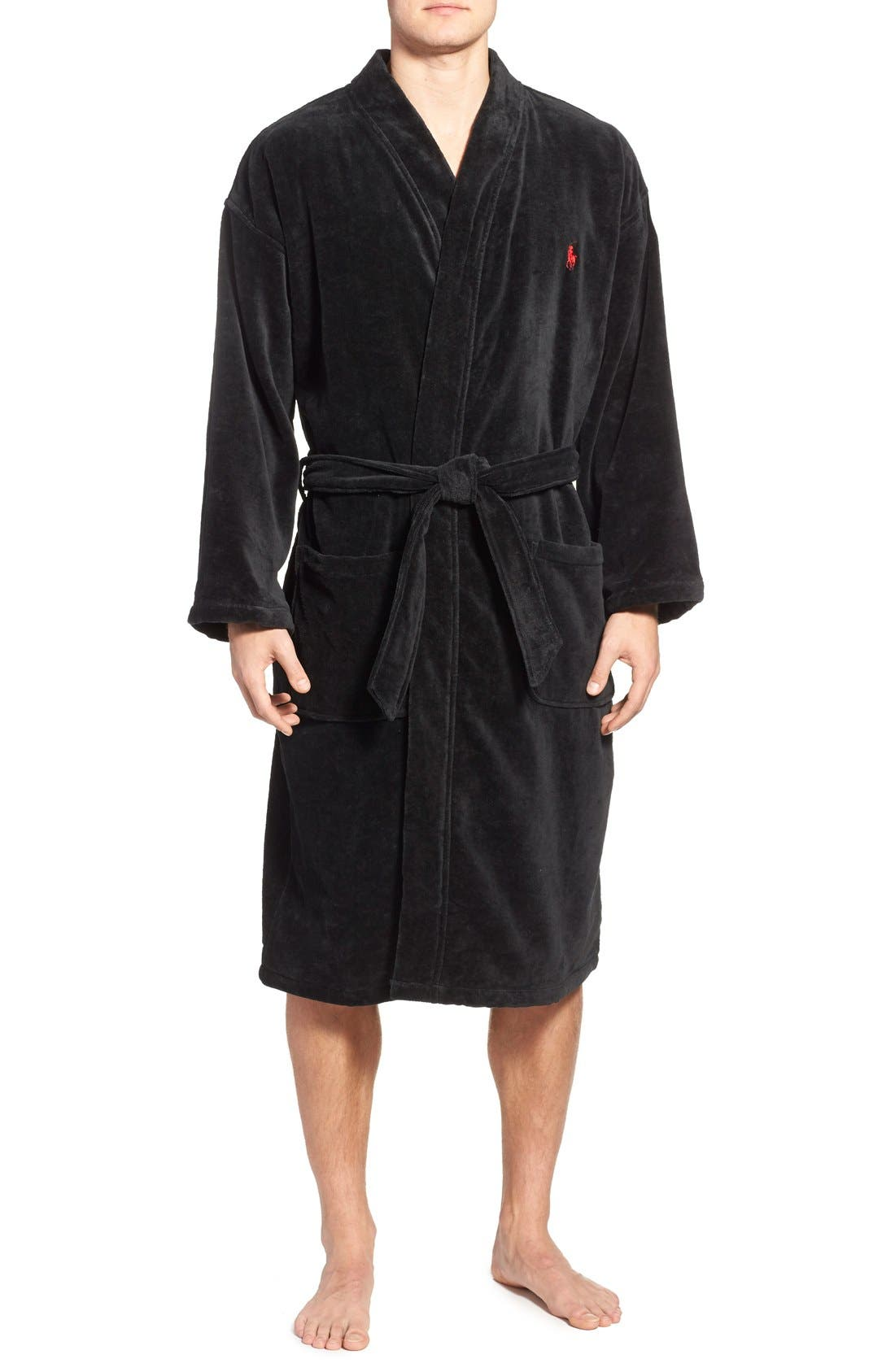 Cotton Fleece Robe,                         Main,                         color, POLO BLACK