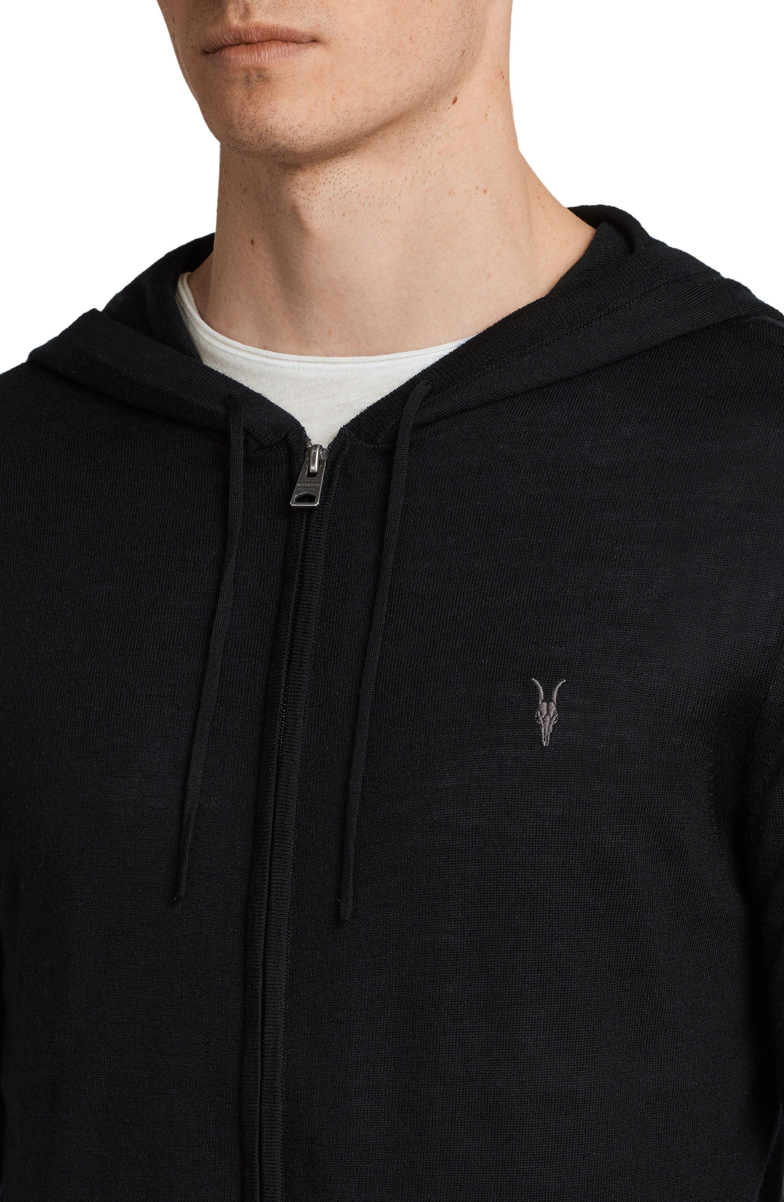 Mode Slim Fit Merino Wool Zip Hoodie,                             Alternate thumbnail 4, color,                             BLACK