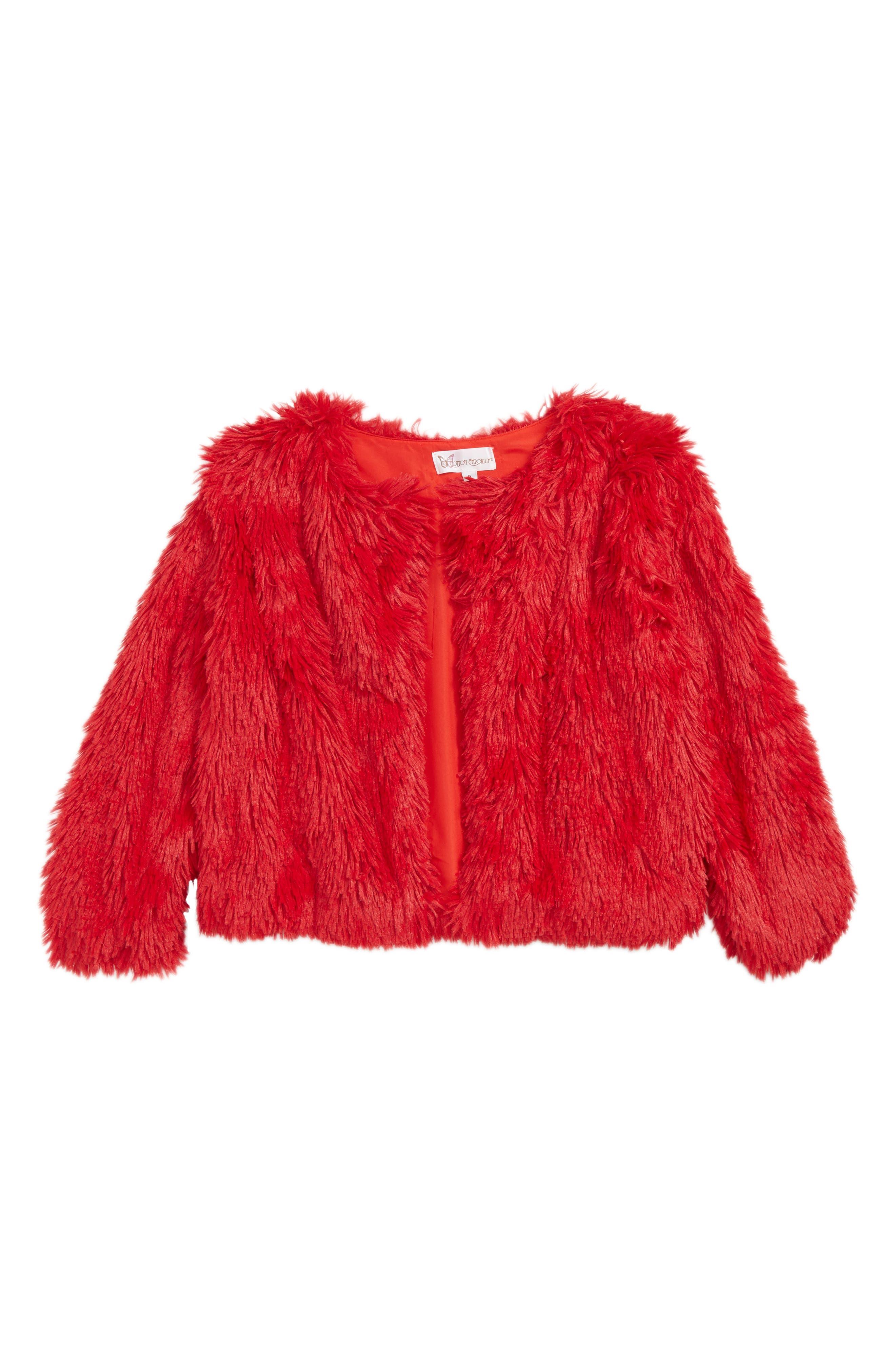 Faux Fur Jacket,                             Main thumbnail 1, color,                             RED