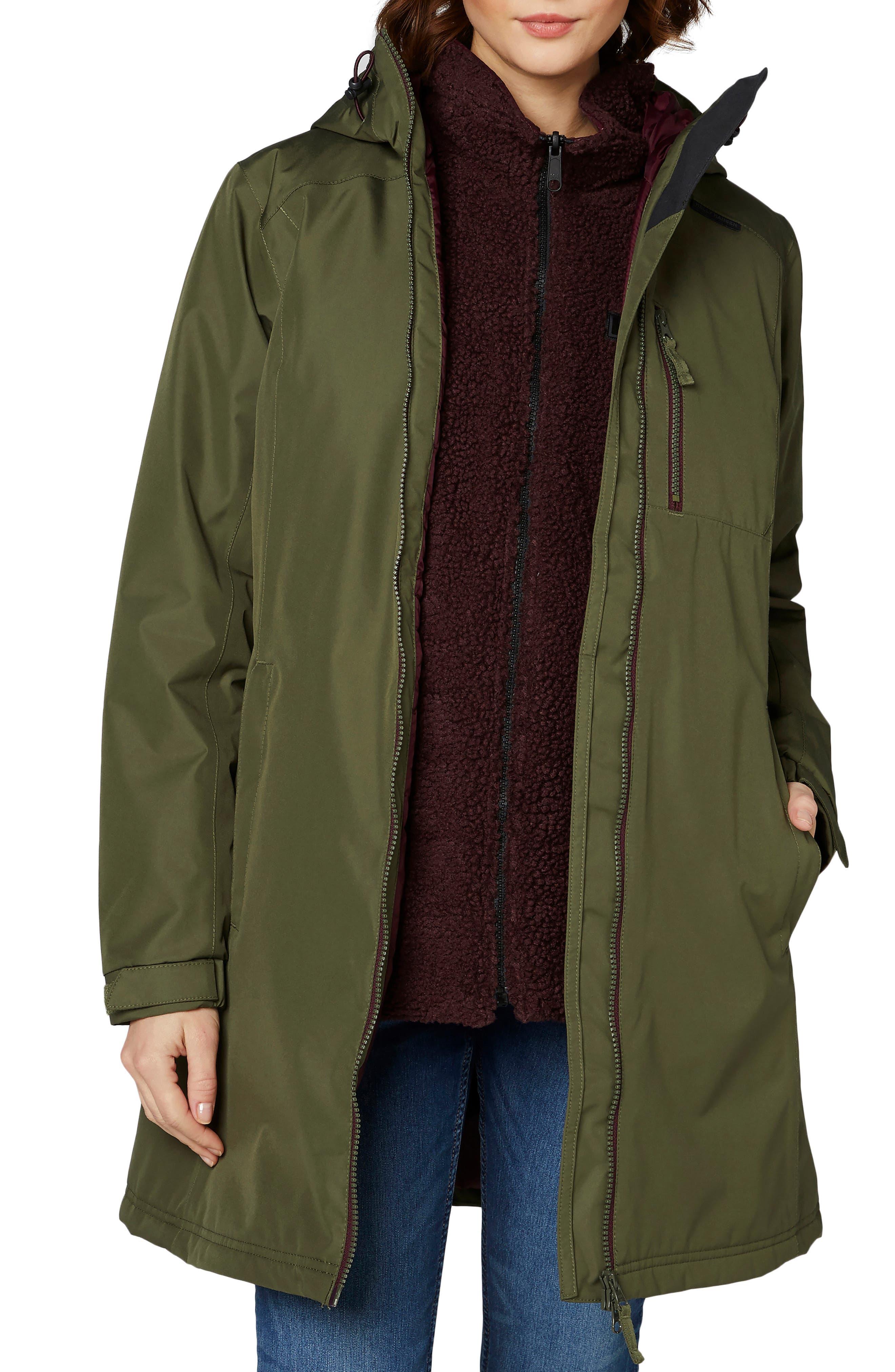 HELLY HANSEN 'Belfast' Long Waterproof Winter Rain Jacket, Main, color, 391