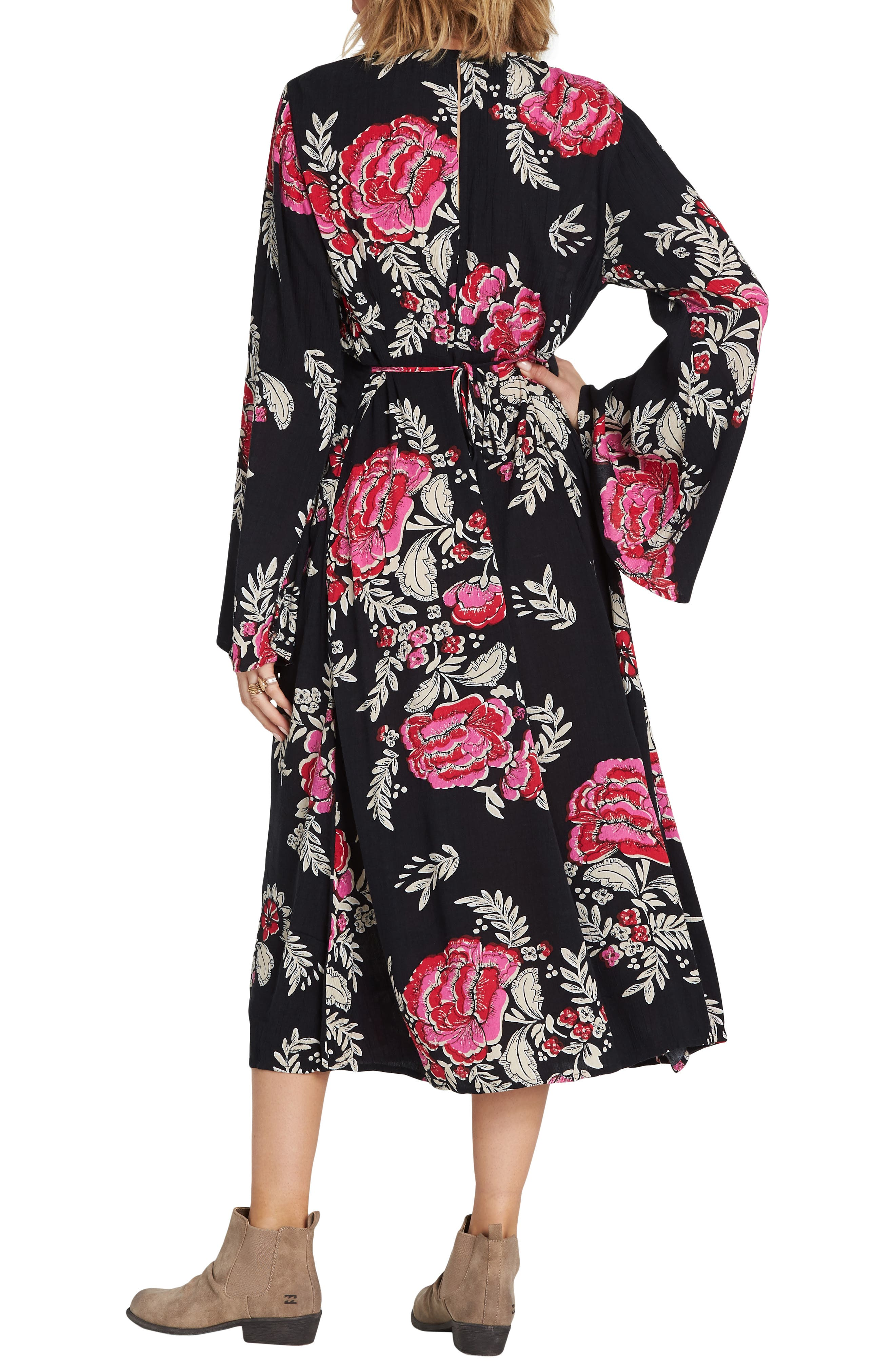 Floral Whispers Floral Midi Dress,                             Alternate thumbnail 2, color,                             BLACK