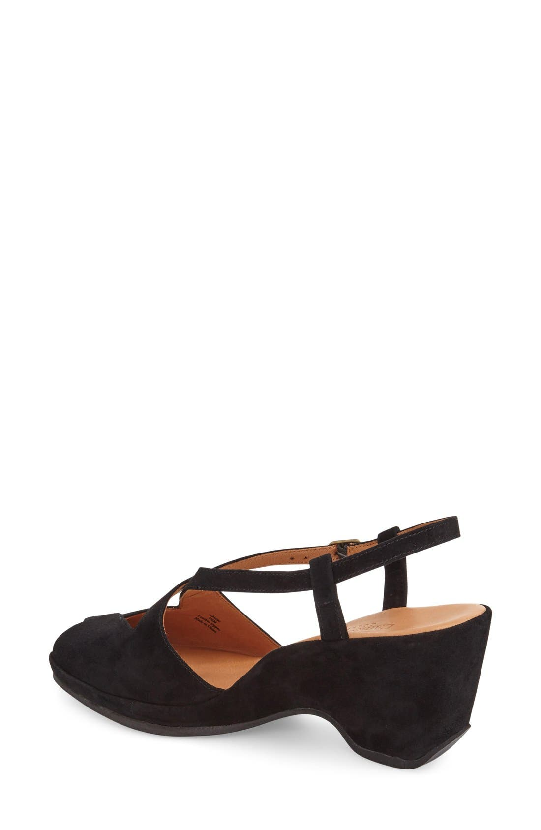 'Oraine' Sandal,                             Alternate thumbnail 2, color,                             BLACK SUEDE LEATHER