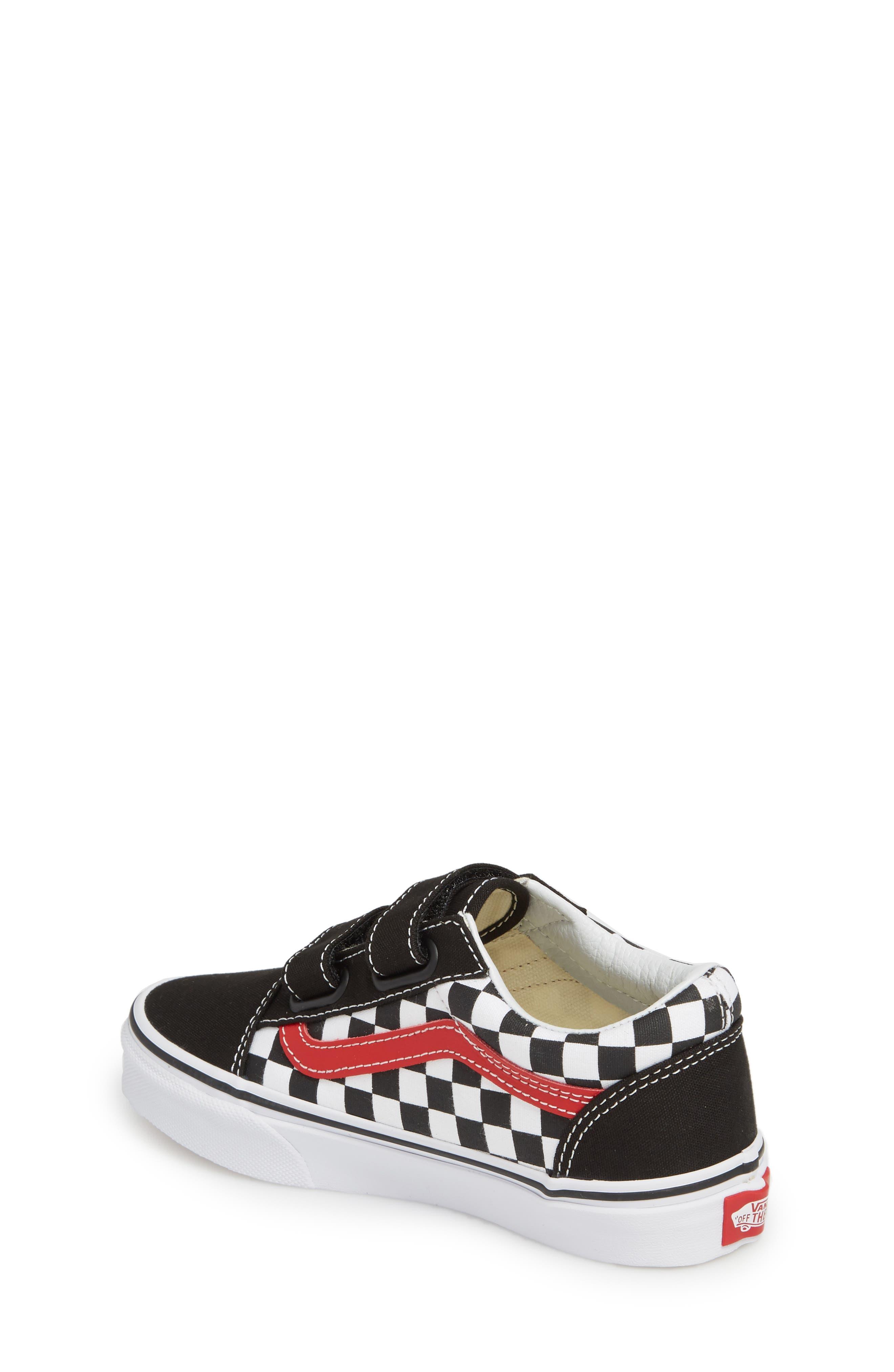 Old Skool V Sneaker,                             Alternate thumbnail 2, color,                             CHECKERBOARD BLACK/ RED/ WHITE