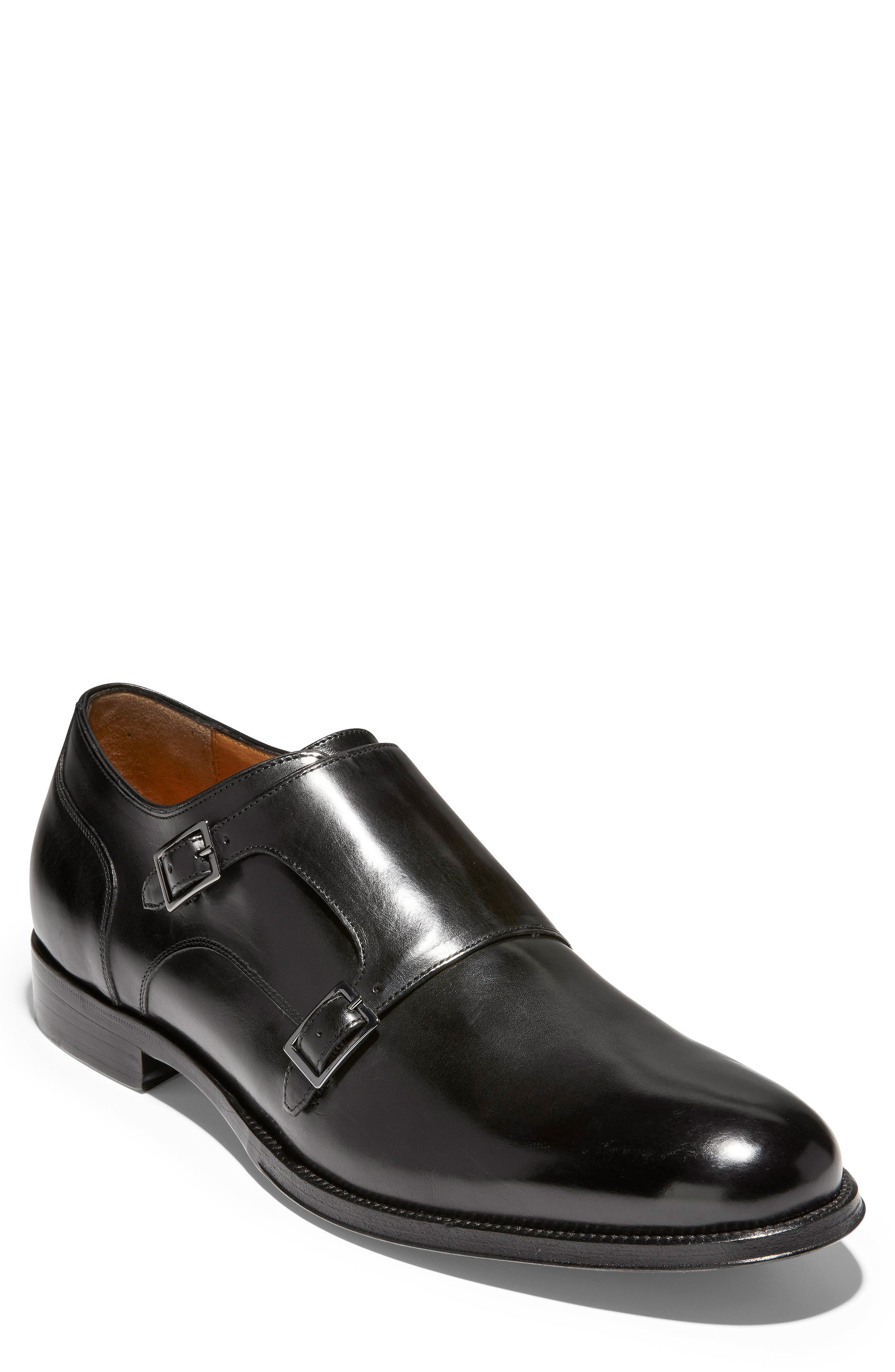 American Classics Gramercy Double Strap Monk Shoe,                             Main thumbnail 1, color,                             BLACK LEATHER