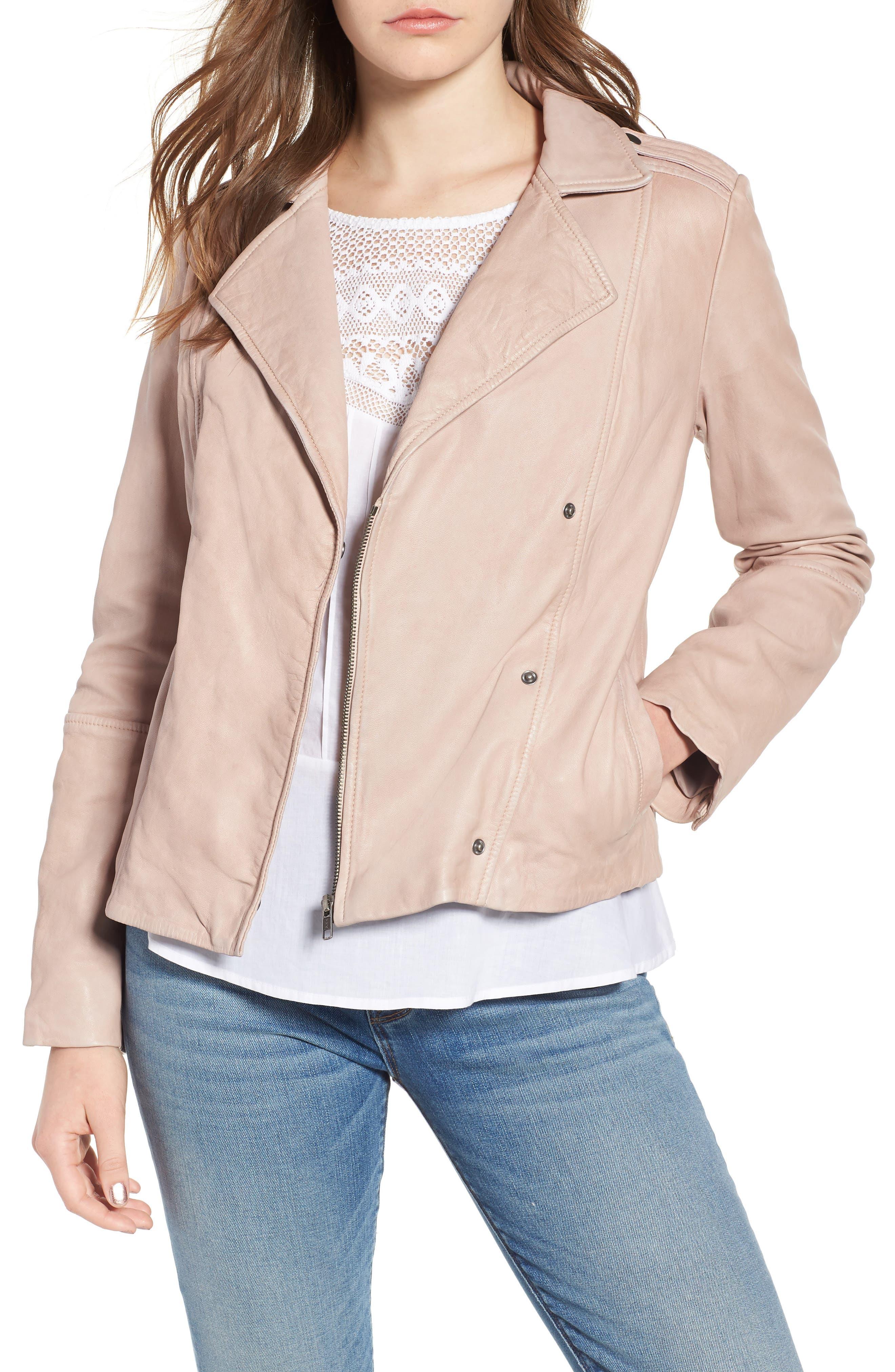 Feminine Leather Moto Jacket,                             Main thumbnail 1, color,                             270