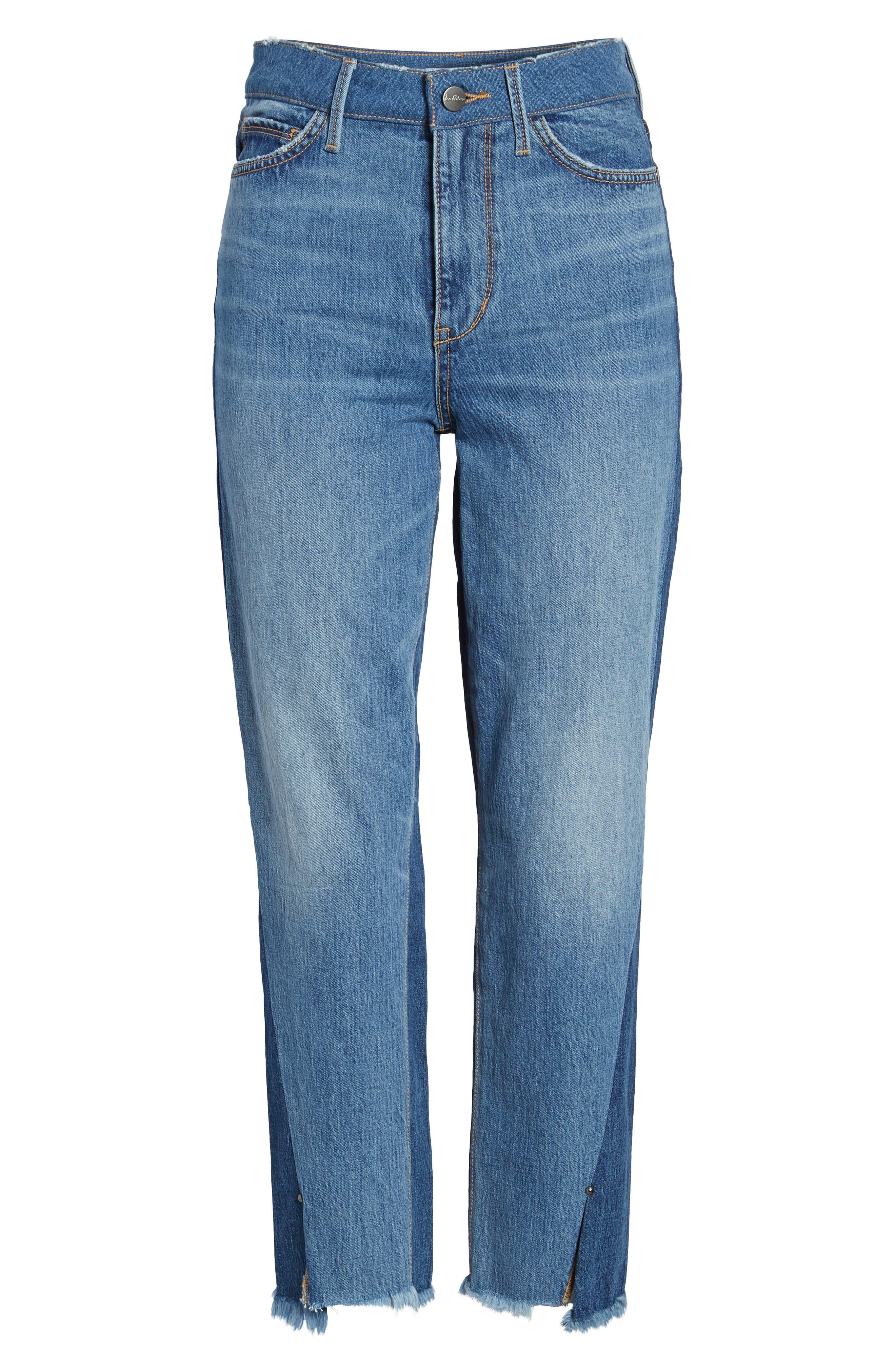 The Mary Jane Fringe Hem Contrast Jeans,                             Alternate thumbnail 6, color,                             410