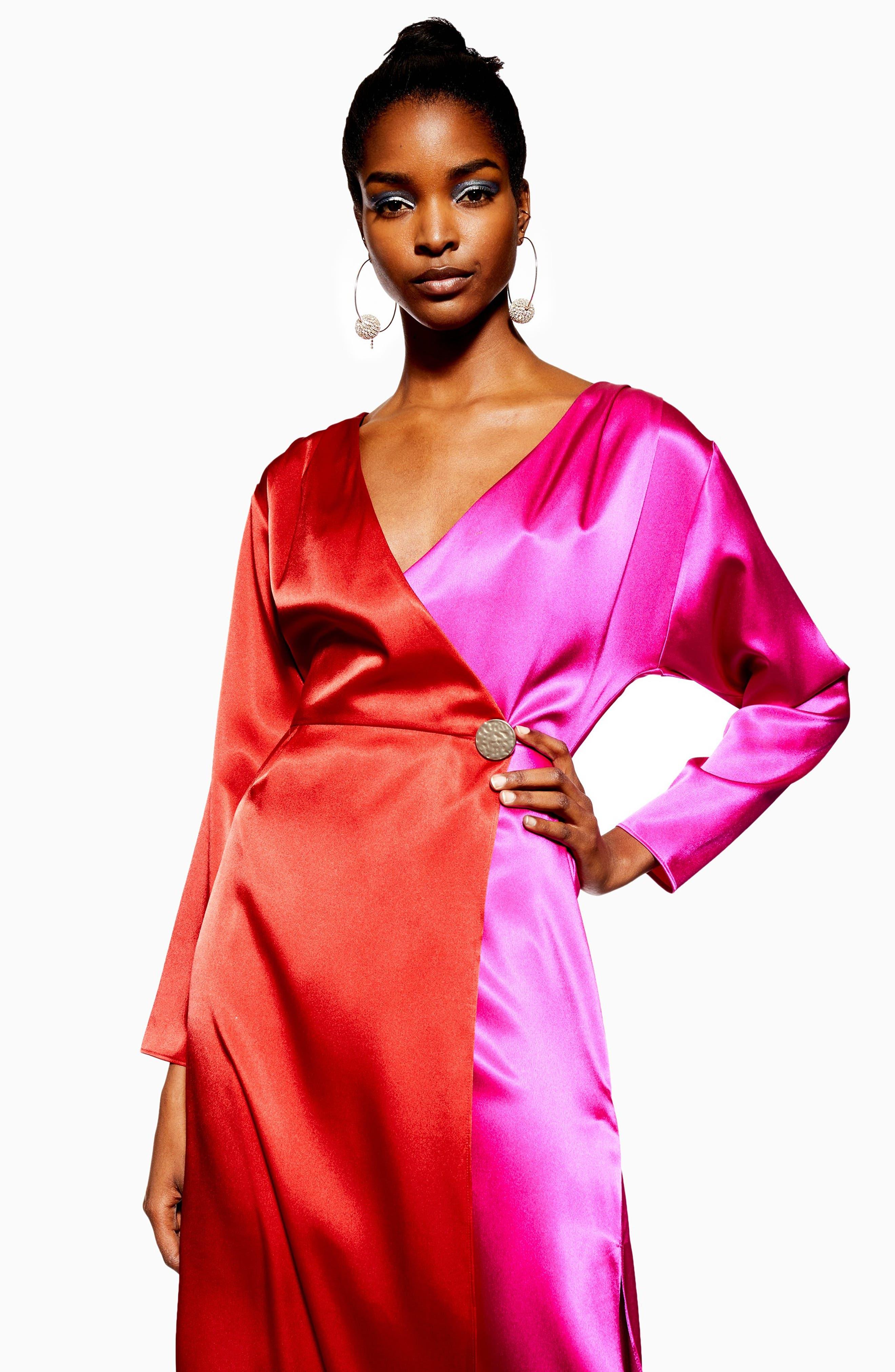 TOPSHOP,                             Colorblock Dress,                             Alternate thumbnail 4, color,                             PINK MULTI