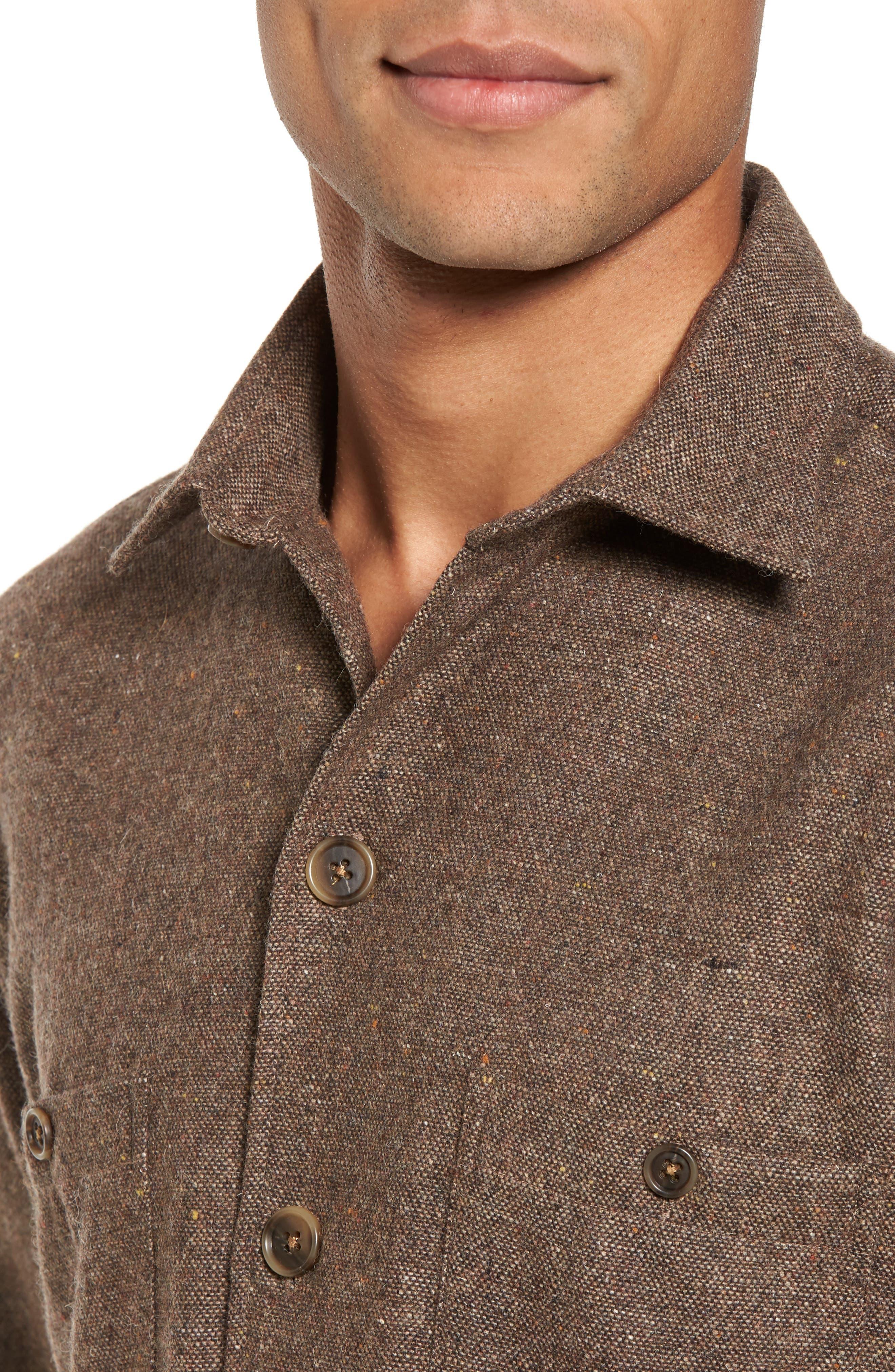 Slim Fit Wool Sport Shirt,                             Alternate thumbnail 4, color,
