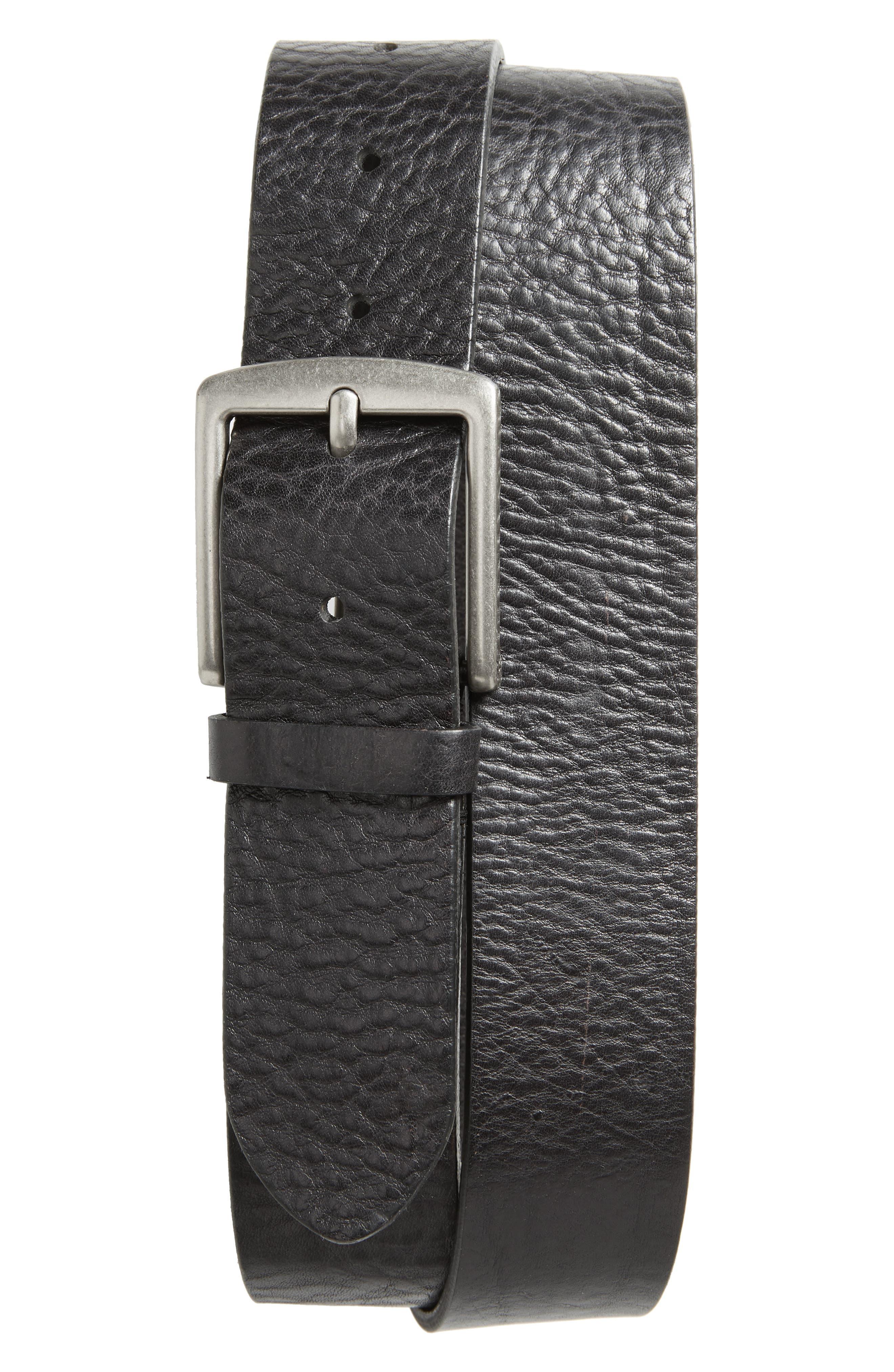 Frye Pebbled Leather Belt, Black