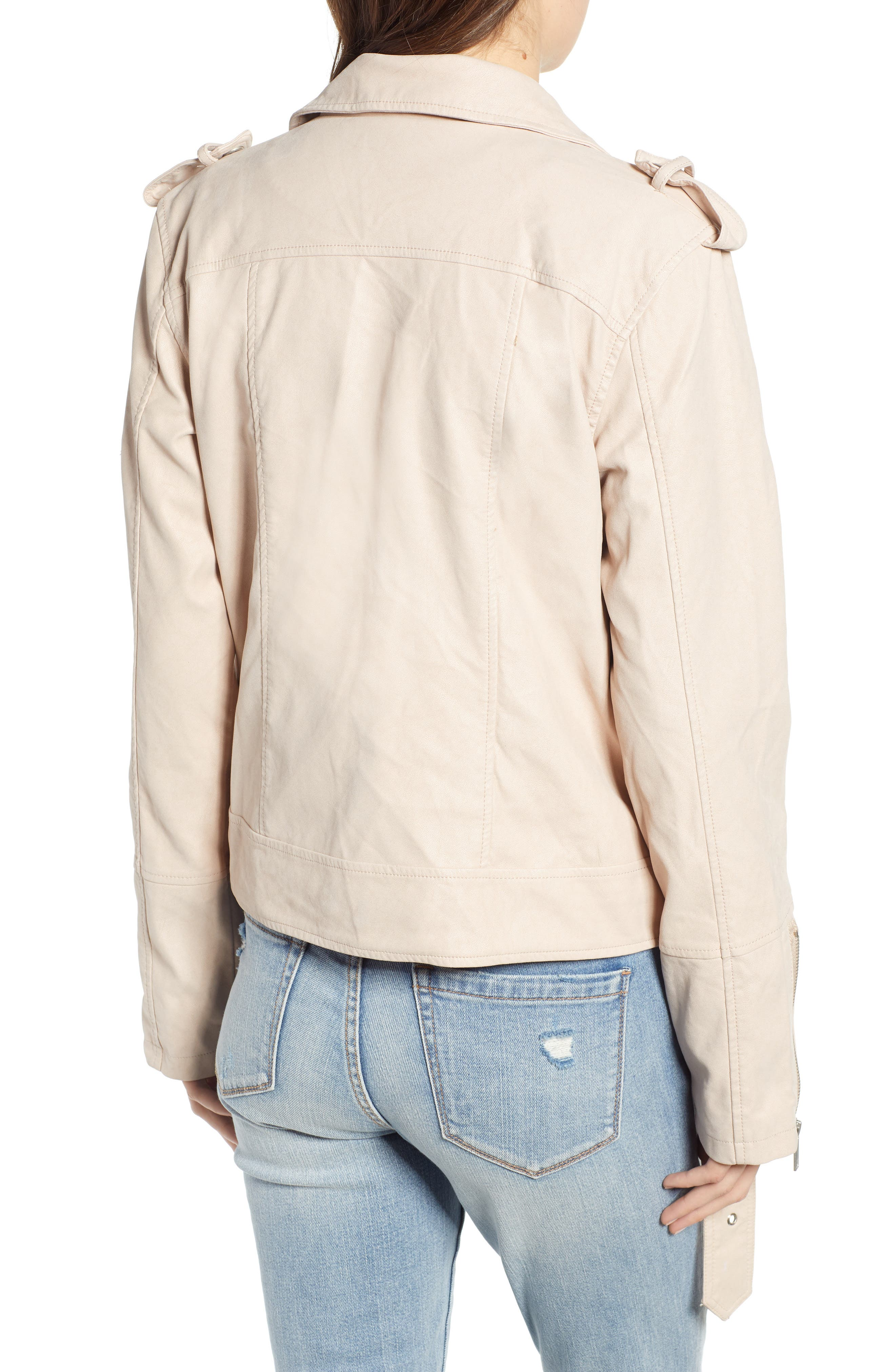 THREAD & SUPPLY,                             Mitch Faux Leather Moto Jacket,                             Alternate thumbnail 2, color,                             BLUSHING PINK