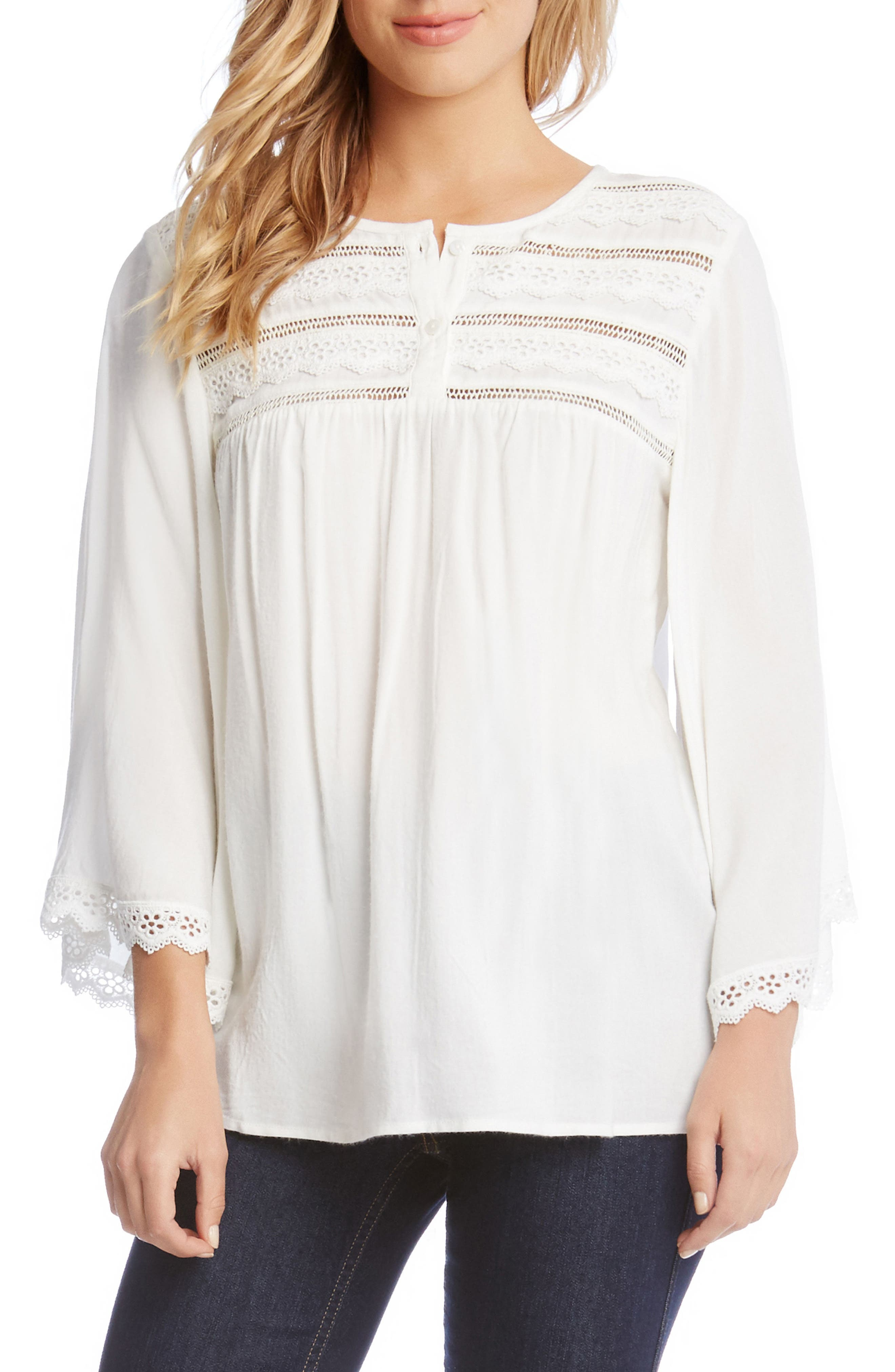 Lace Trim Flare Sleeve Top,                             Main thumbnail 1, color,                             101