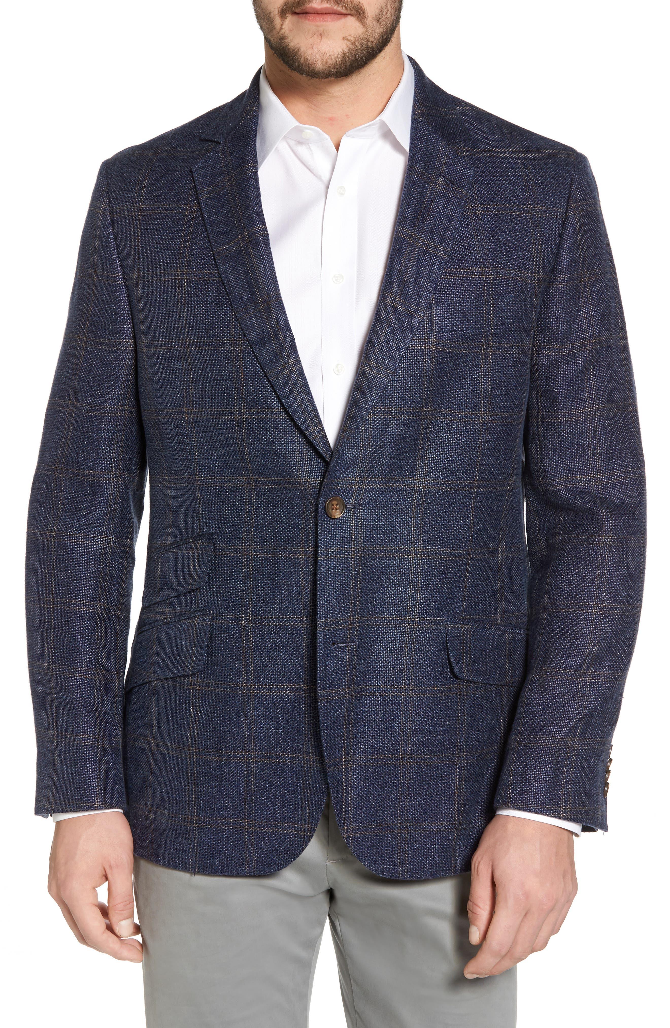 Classic Fit Windowpane Linen Blend Sport Coat,                             Main thumbnail 1, color,