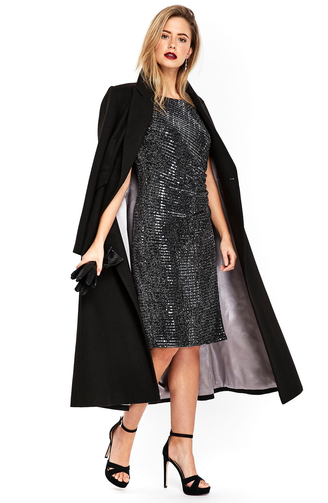 Sequin Side Ruched Dress,                             Alternate thumbnail 6, color,                             020
