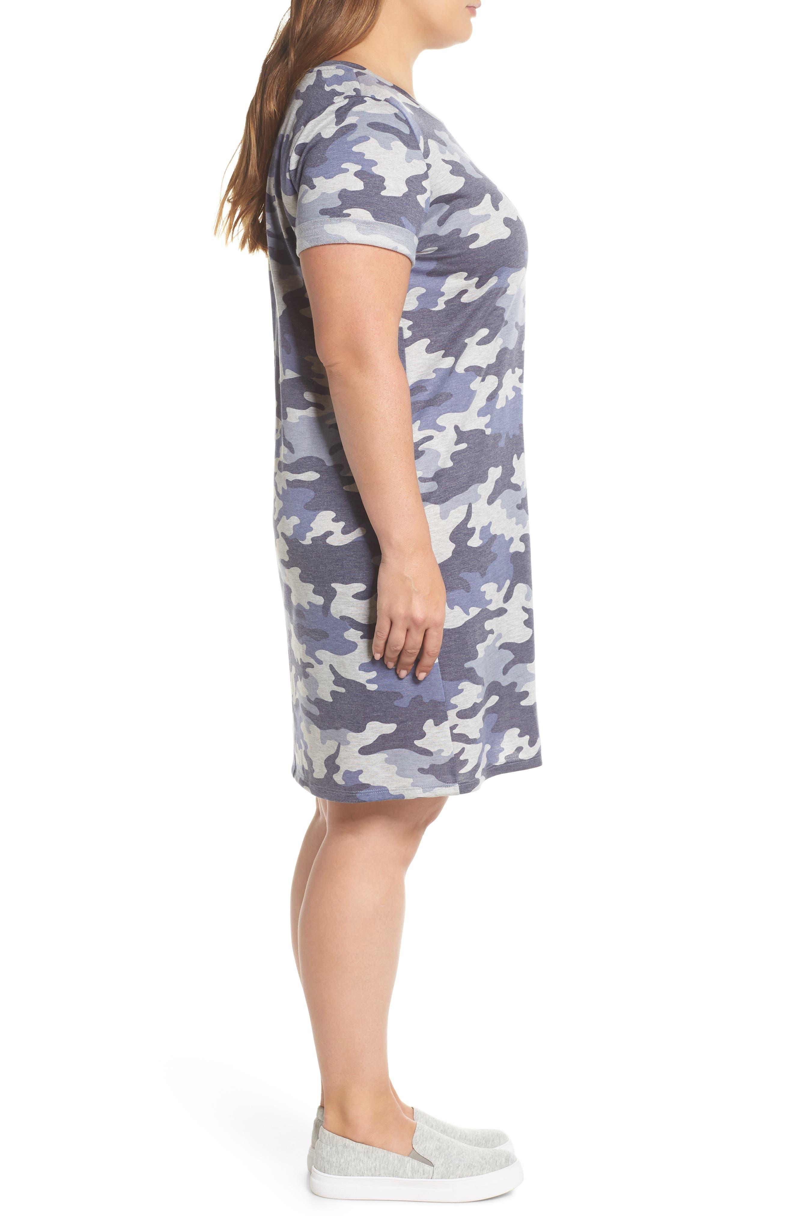 Camo T-Shirt Dress,                             Alternate thumbnail 3, color,                             480