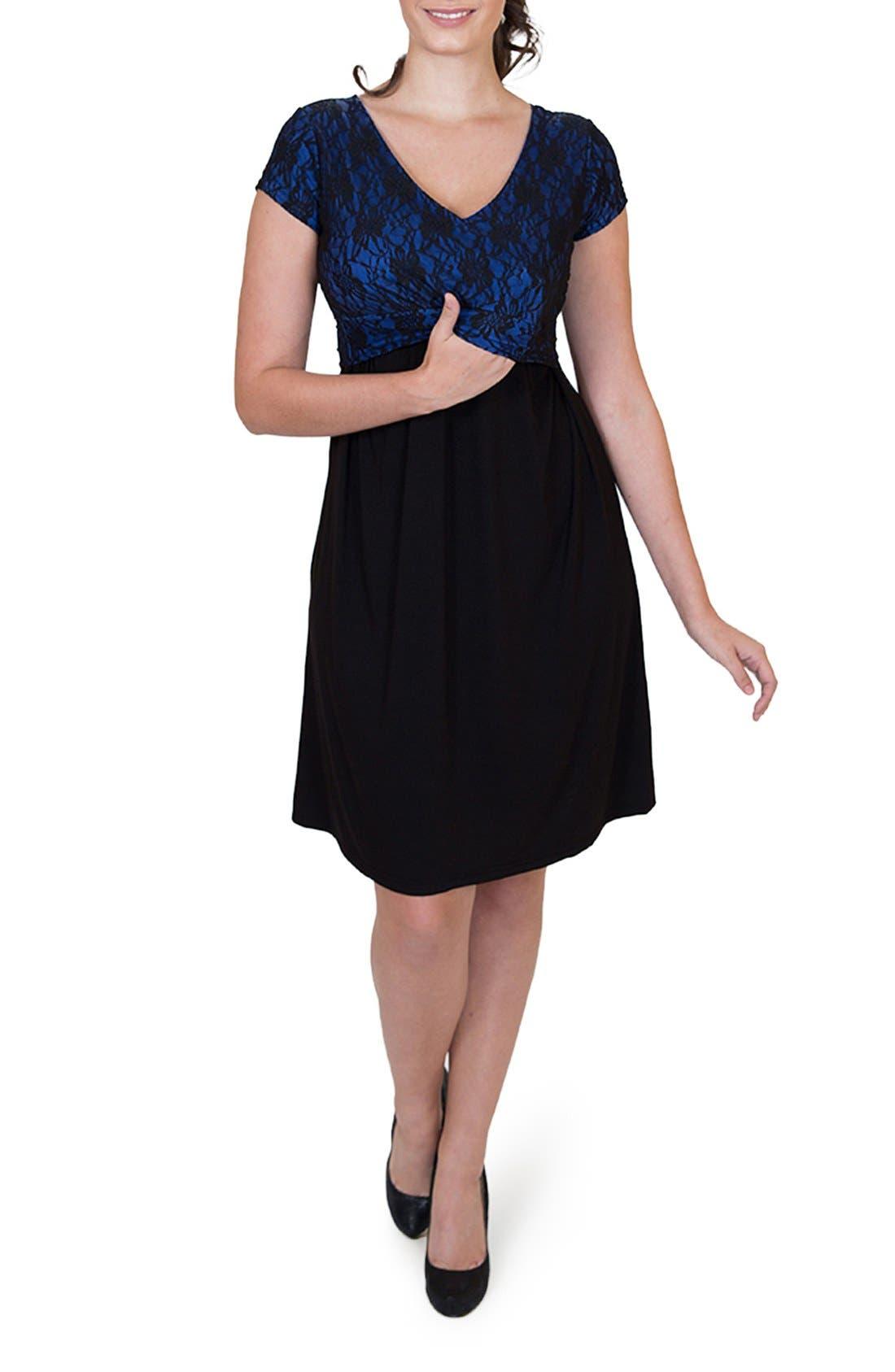 'Camila' Maternity/Nursing Dress,                             Alternate thumbnail 4, color,                             ROYAL BLUE/ BLACK