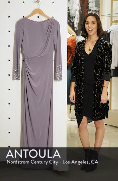 Embellished Sleeve Ruched Evening Dress, sales video thumbnail