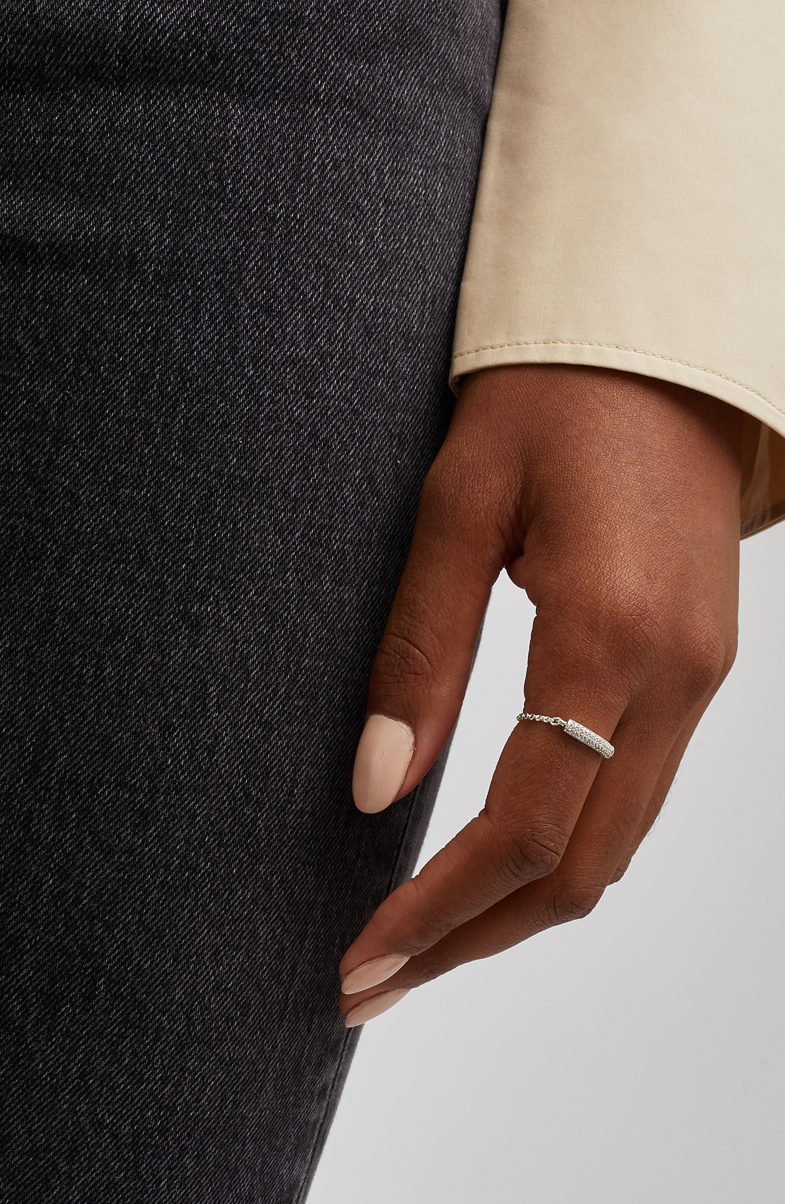 Fiji Bar Friendship Diamond Chain Ring,                             Alternate thumbnail 2, color,                             SILVER