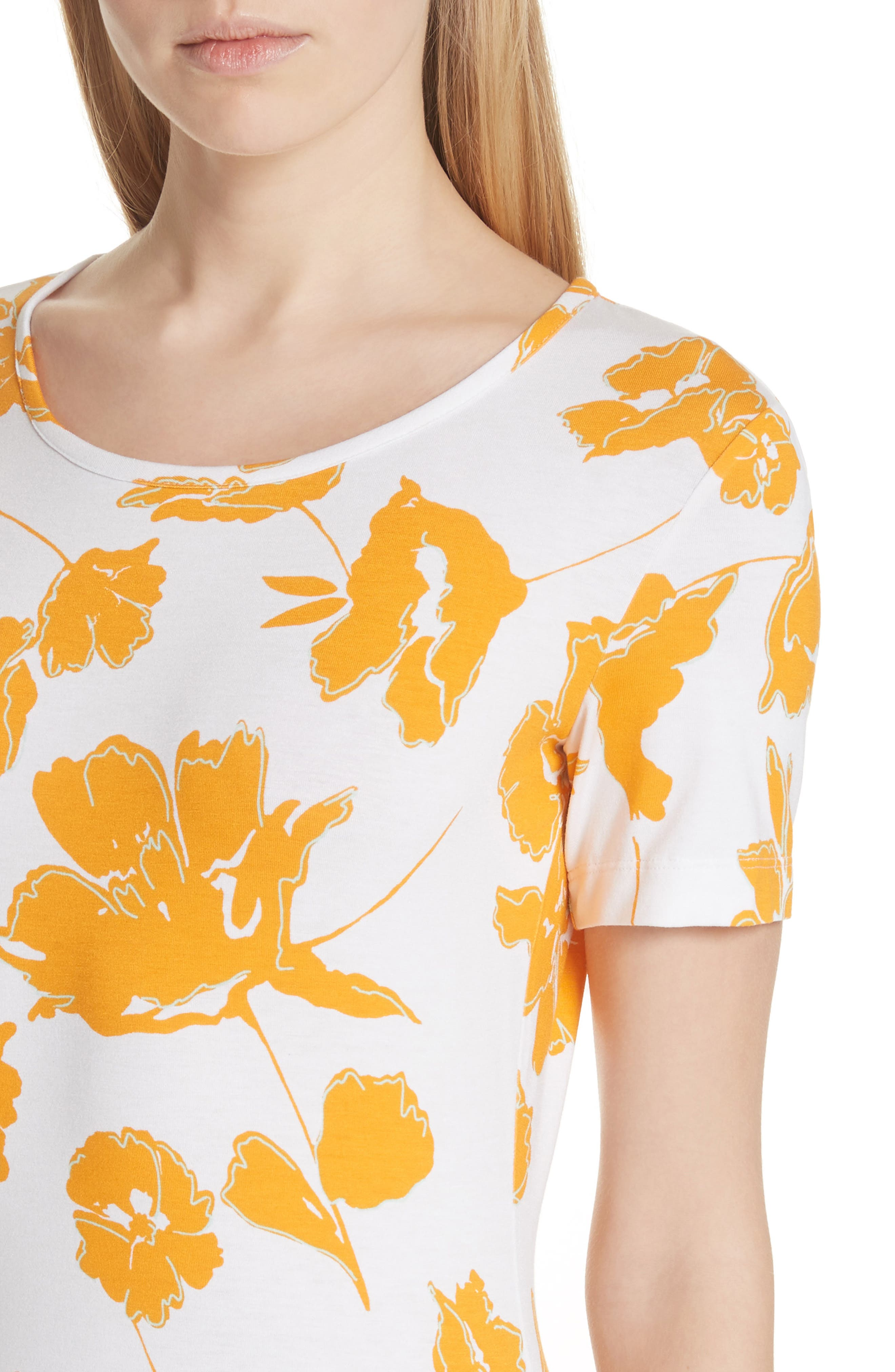 Painted Floral Jersey Tee,                             Alternate thumbnail 4, color,                             MANGO MULTI