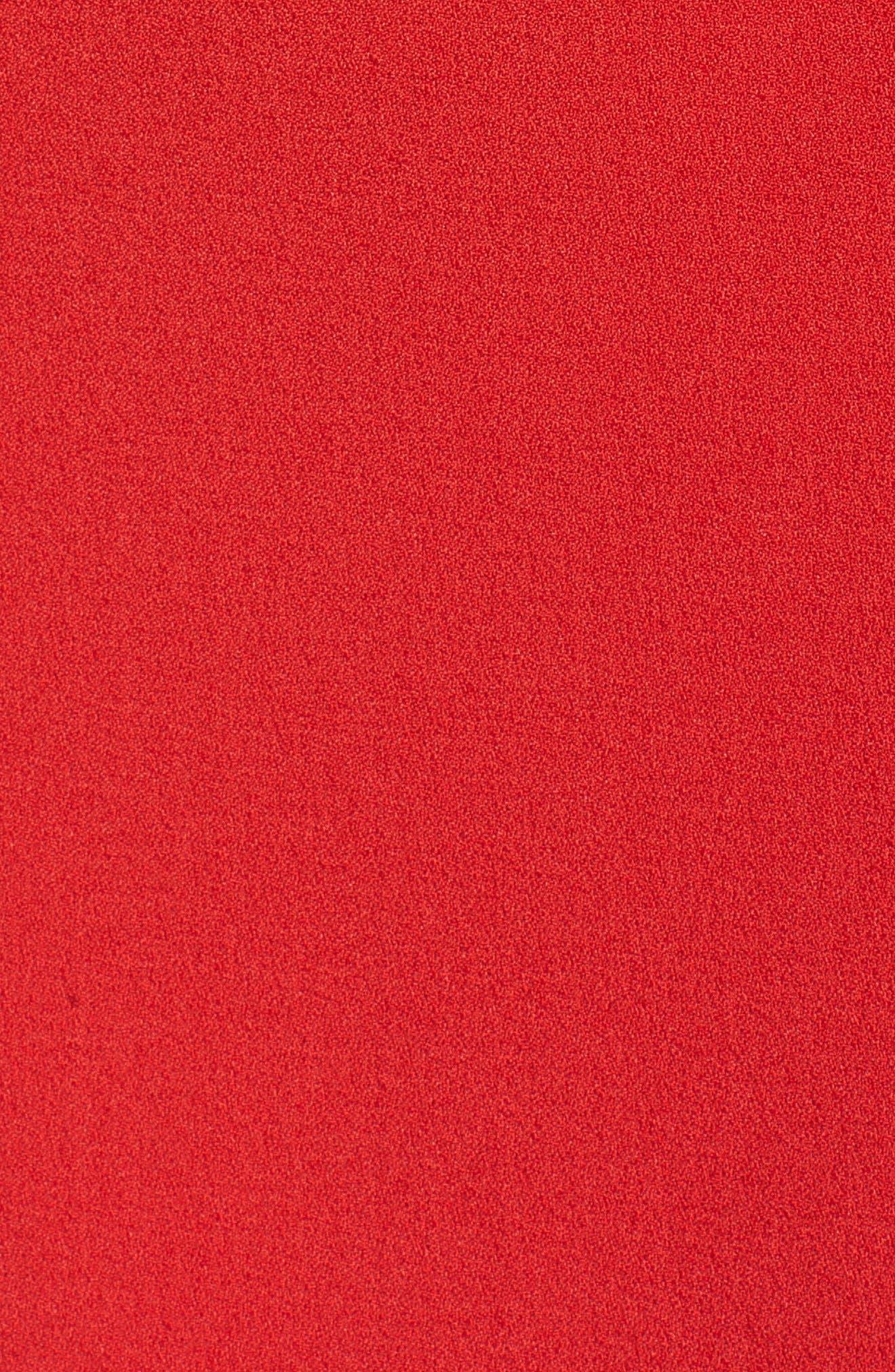 One-Shoulder Twist Front Sheath Dress,                             Alternate thumbnail 6, color,                             RED