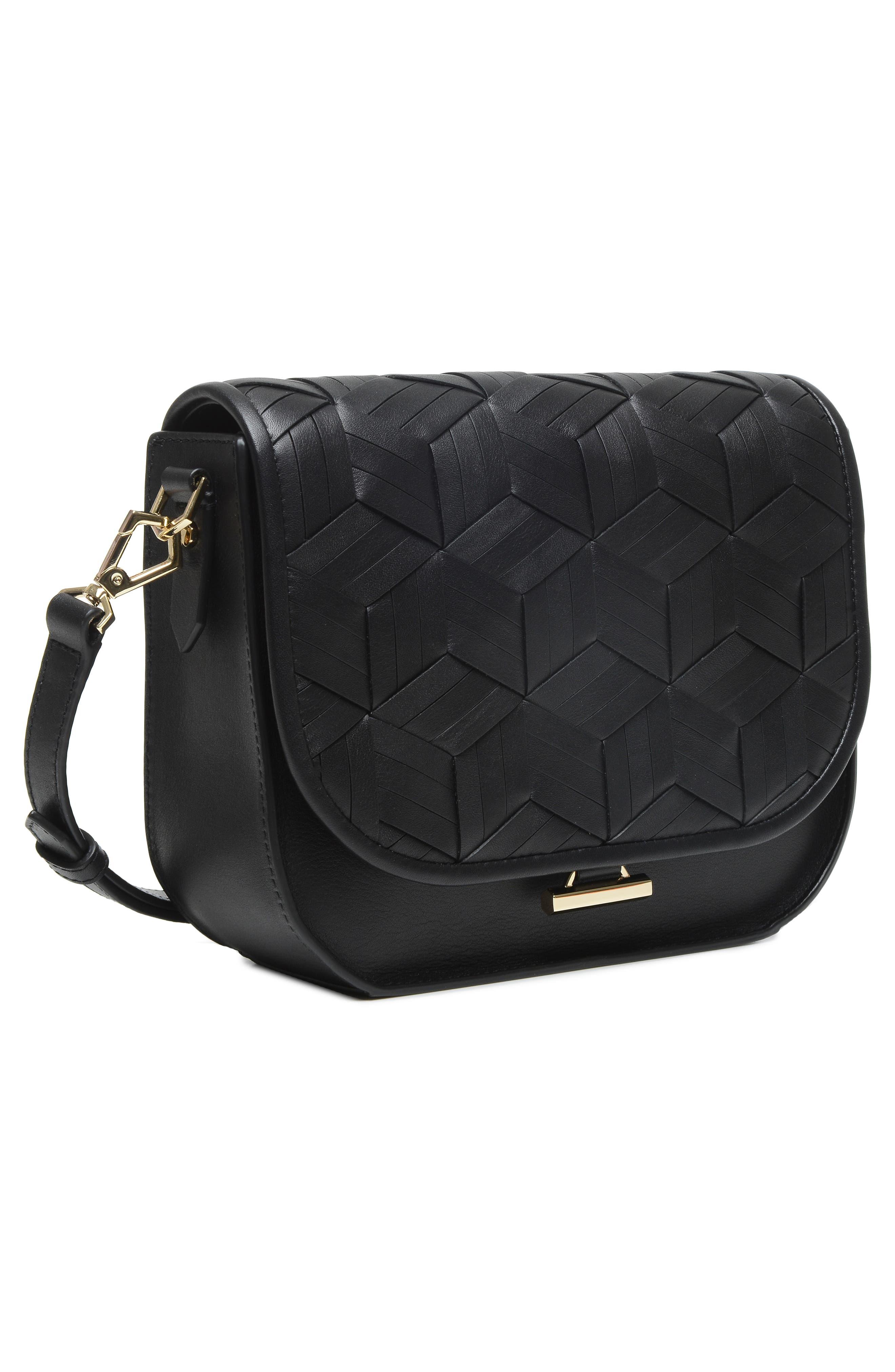 Summit Leather Crossbody Bag,                             Alternate thumbnail 5, color,                             BLACK