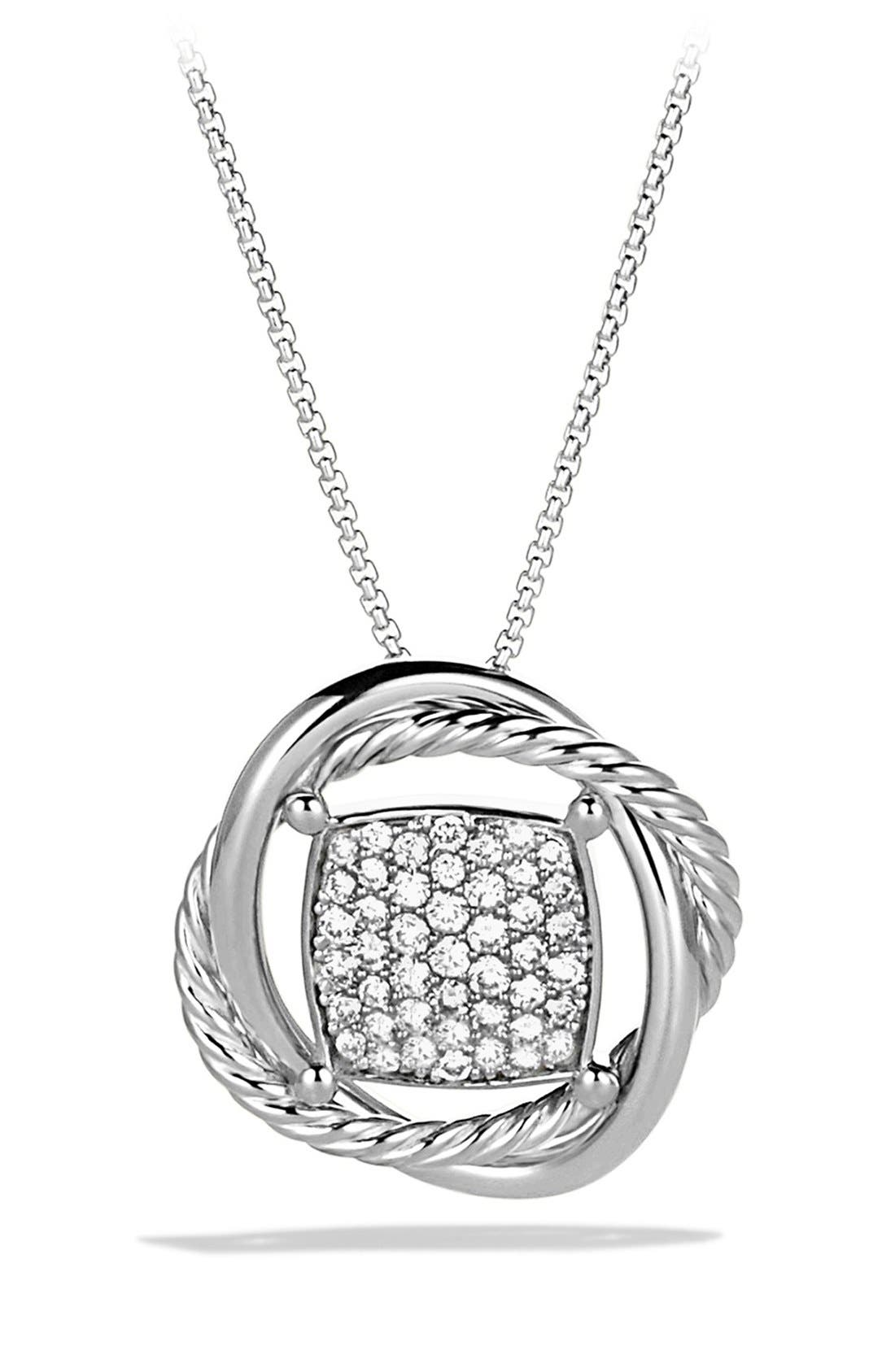 'Infinity' Pendant with Diamonds on Chain,                             Main thumbnail 1, color,                             DIAMOND