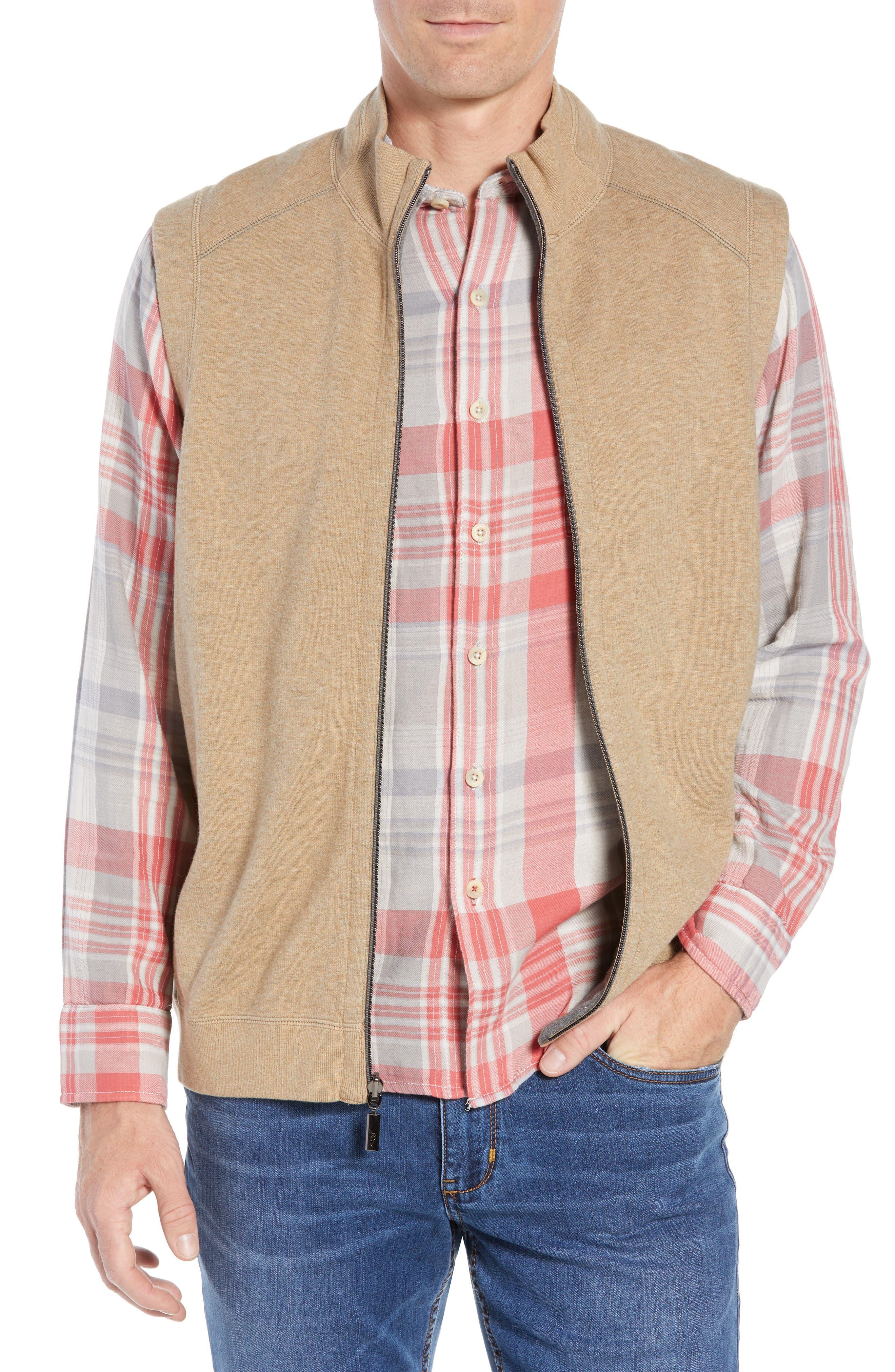 Flip Side Reversible Zip Vest,                             Main thumbnail 1, color,                             GOLDEN HONEY HEATHER