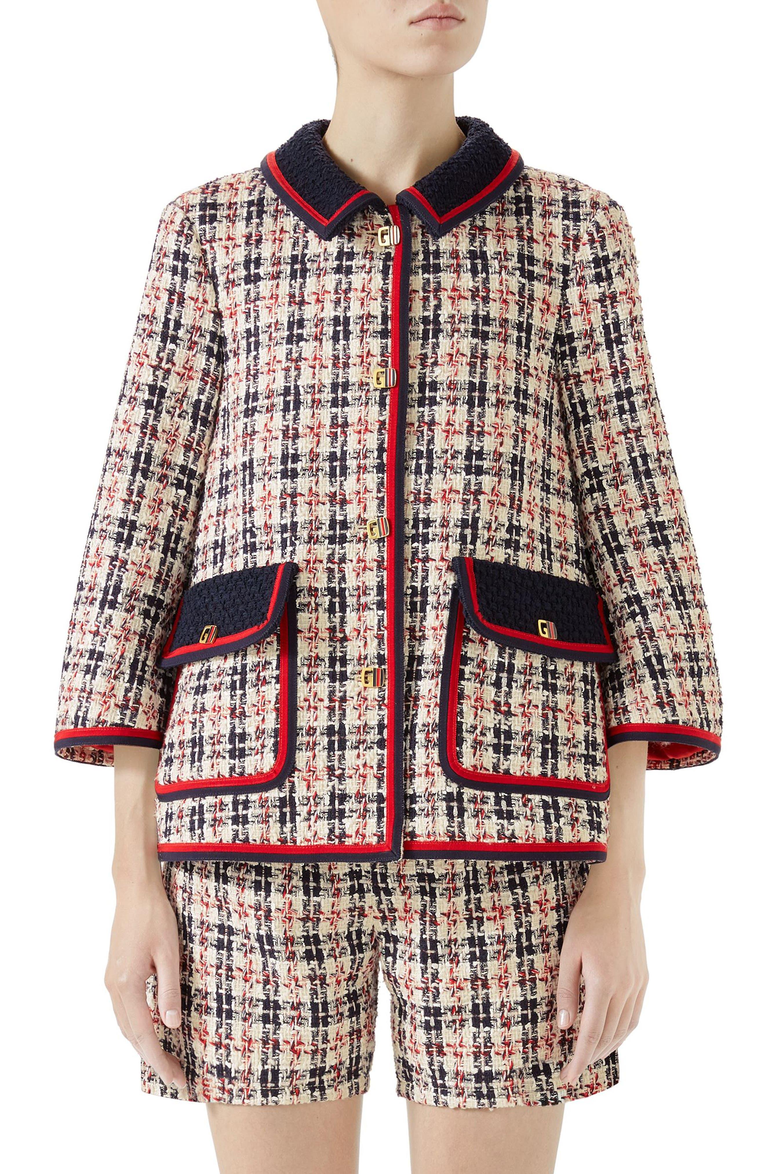 Tweed Caban,                         Main,                         color, GARDENIA