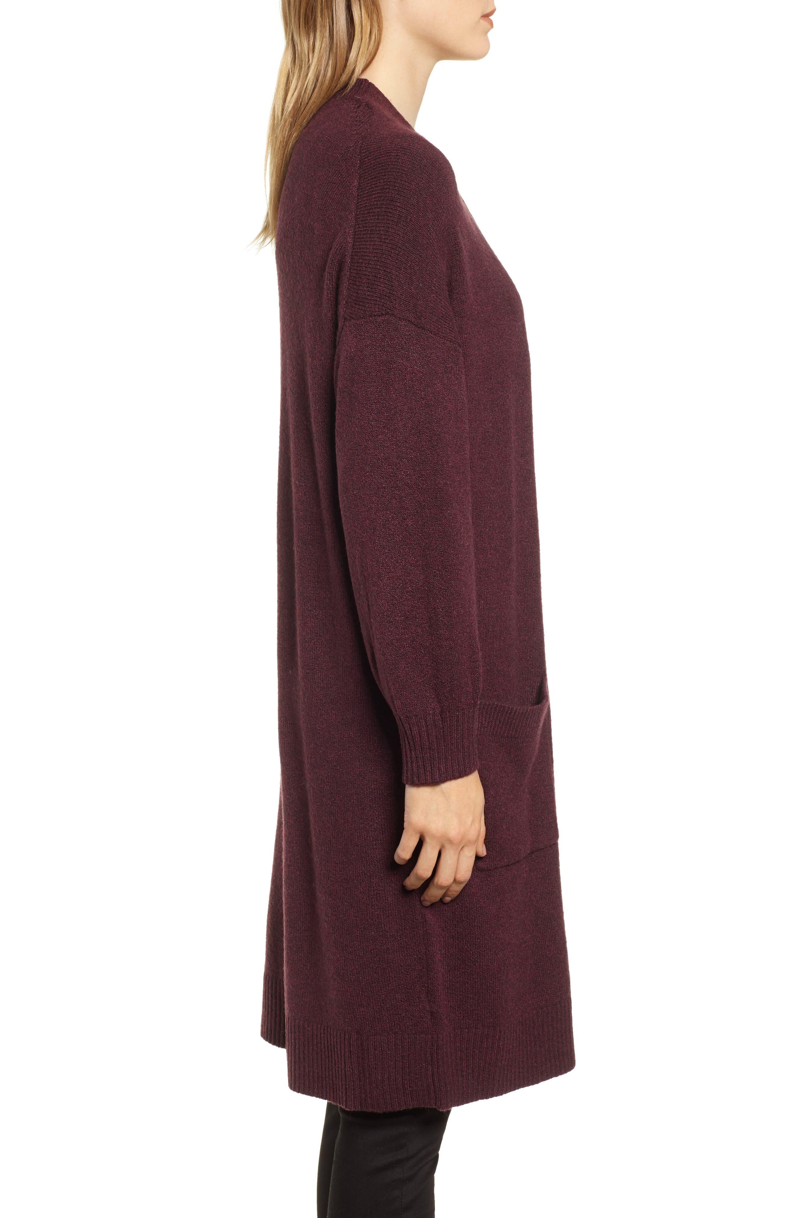 Pocket Sweater Coat,                             Alternate thumbnail 3, color,                             BURGUNDY TO MATCH DRESS